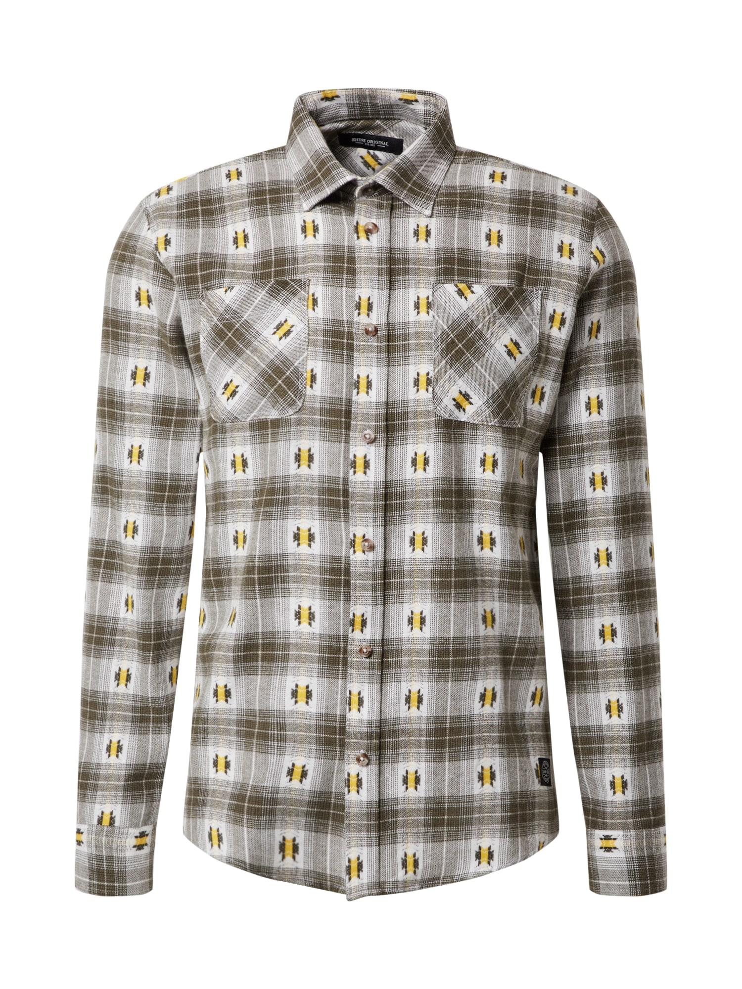 SHINE ORIGINAL Marškiniai rusvai žalia / balkšva / tamsiai ruda / geltona