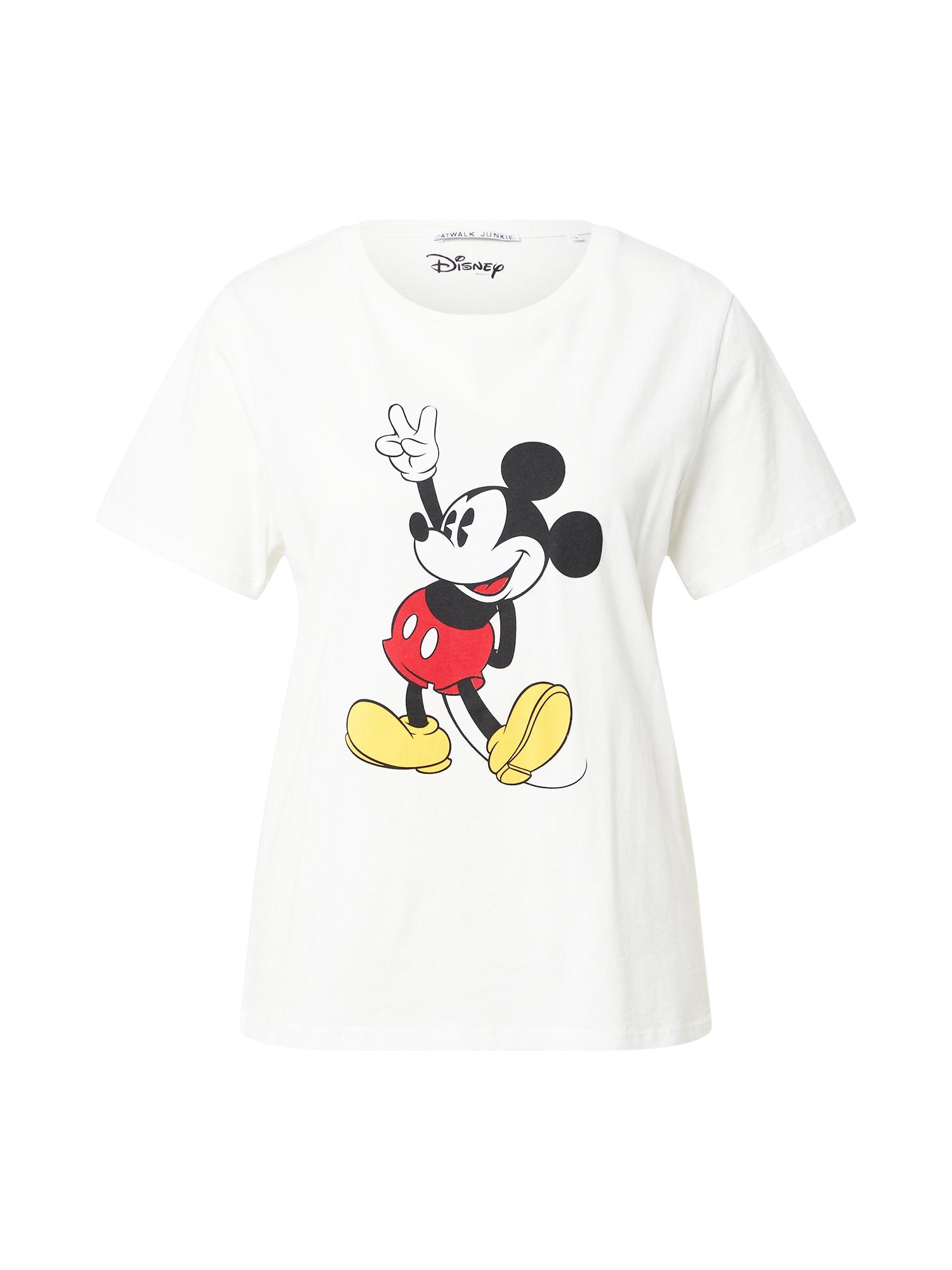CATWALK JUNKIE Marškinėliai balkšva / juoda / raudona / geltona