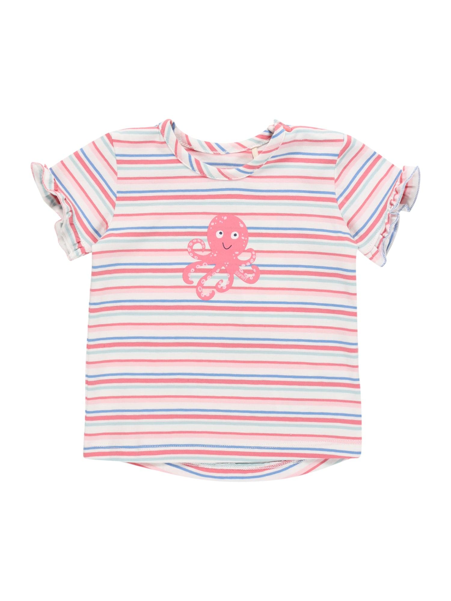ESPRIT Marškinėliai balta / rožių spalva / mėlyna dūmų spalva / rožinė
