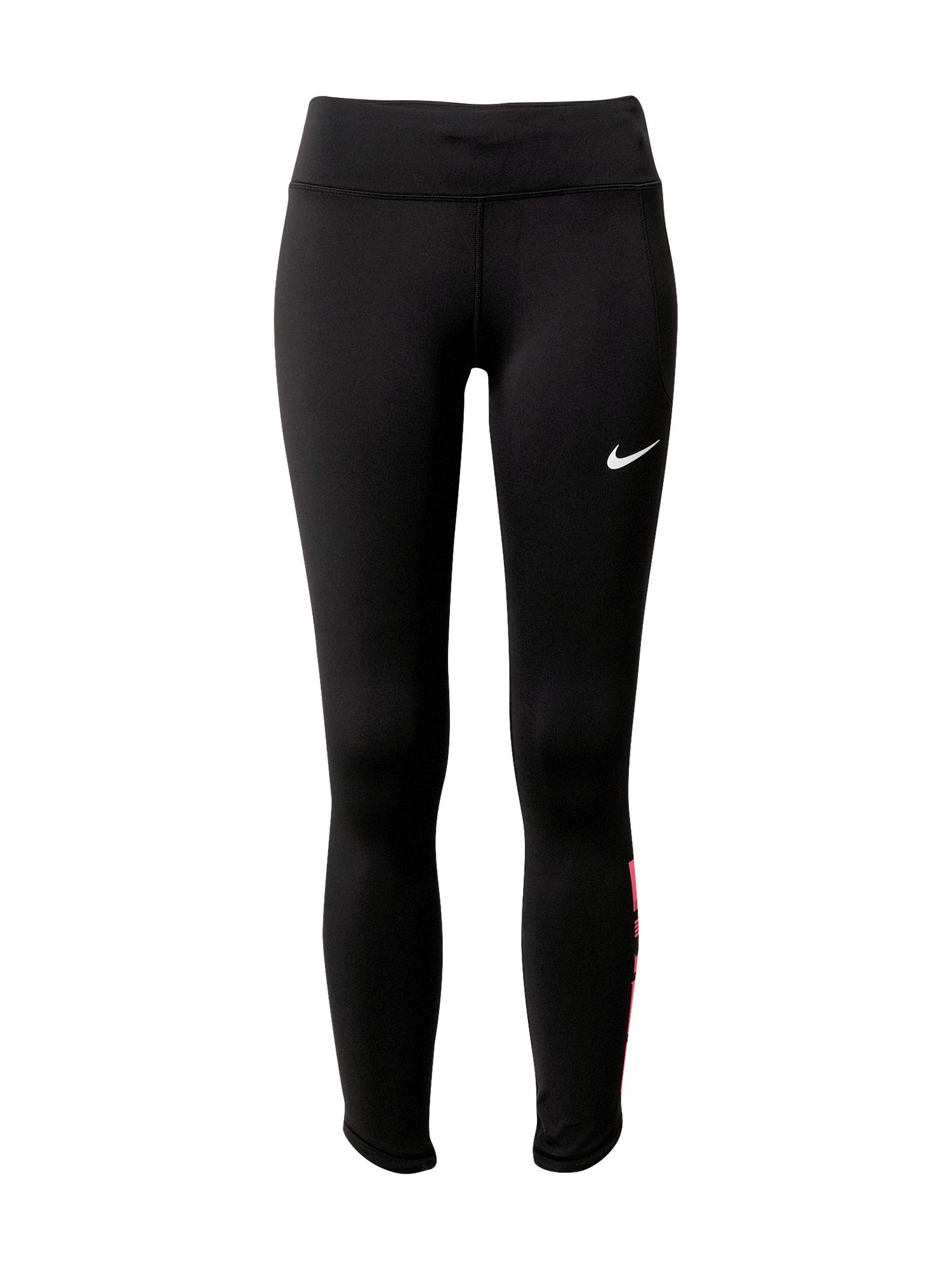 NIKE Sportinės kelnės juoda / balta / rožinė