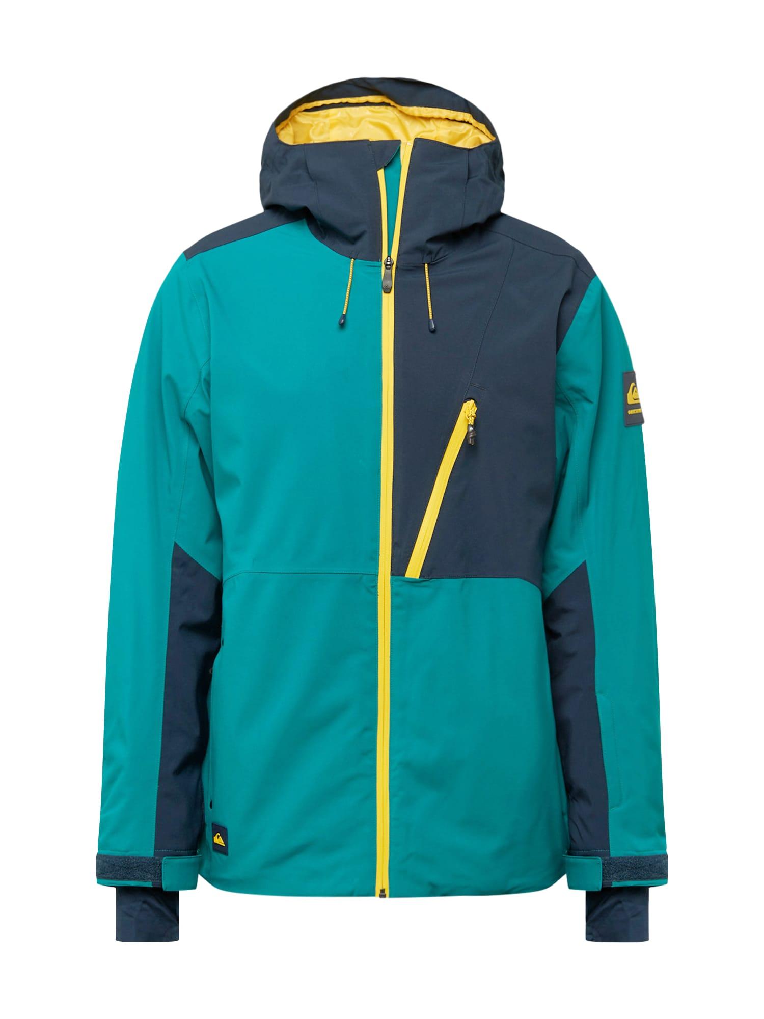 QUIKSILVER Sportinė striukė žalia / nakties mėlyna / geltona