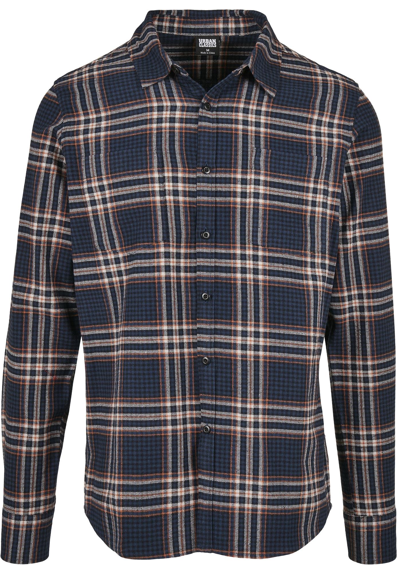 Urban Classics Marškiniai tamsiai mėlyna / rūdžių raudona / balta