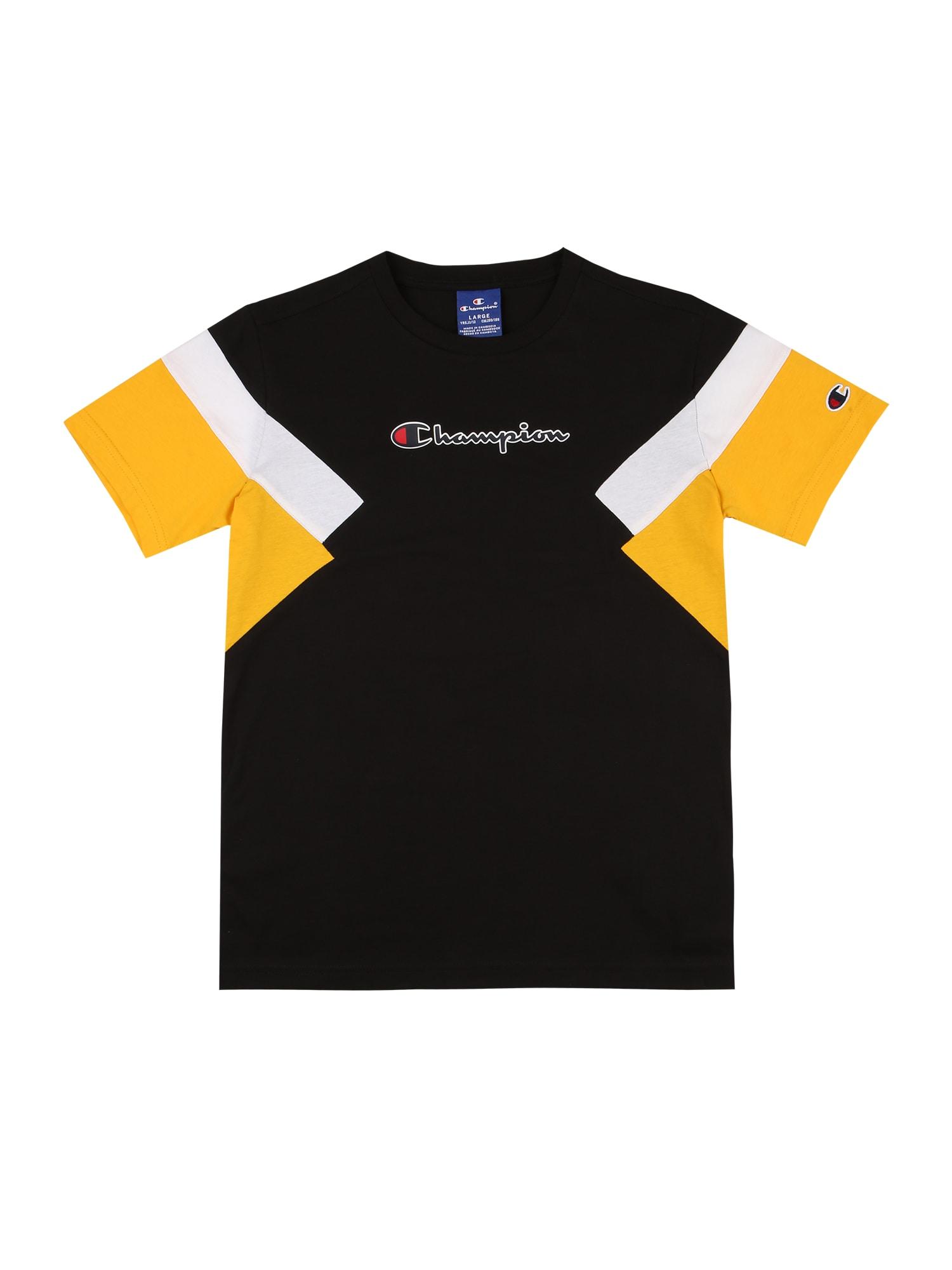Champion Authentic Athletic Apparel Marškinėliai juoda / geltona / balta