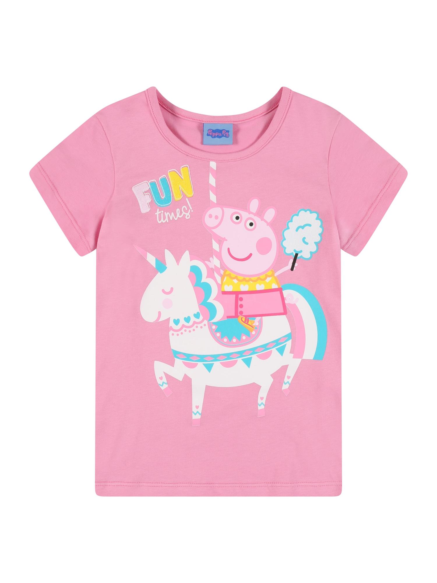 Peppa Pig Marškinėliai rožių spalva / balta / šviesiai rožinė / dangaus žydra / geltona