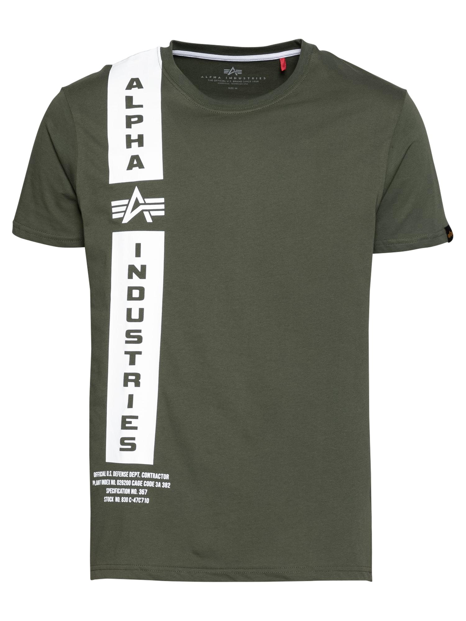 ALPHA INDUSTRIES Marškinėliai 'Defense' alyvuogių spalva / balta