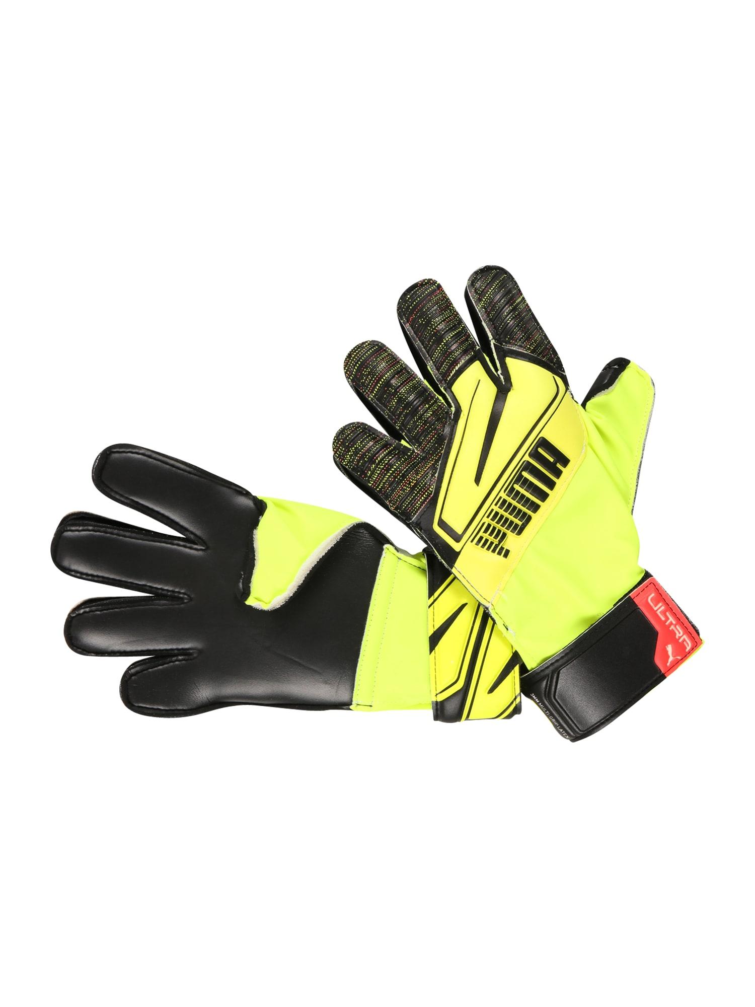 PUMA Sportinės pirštinės neoninė geltona / juoda