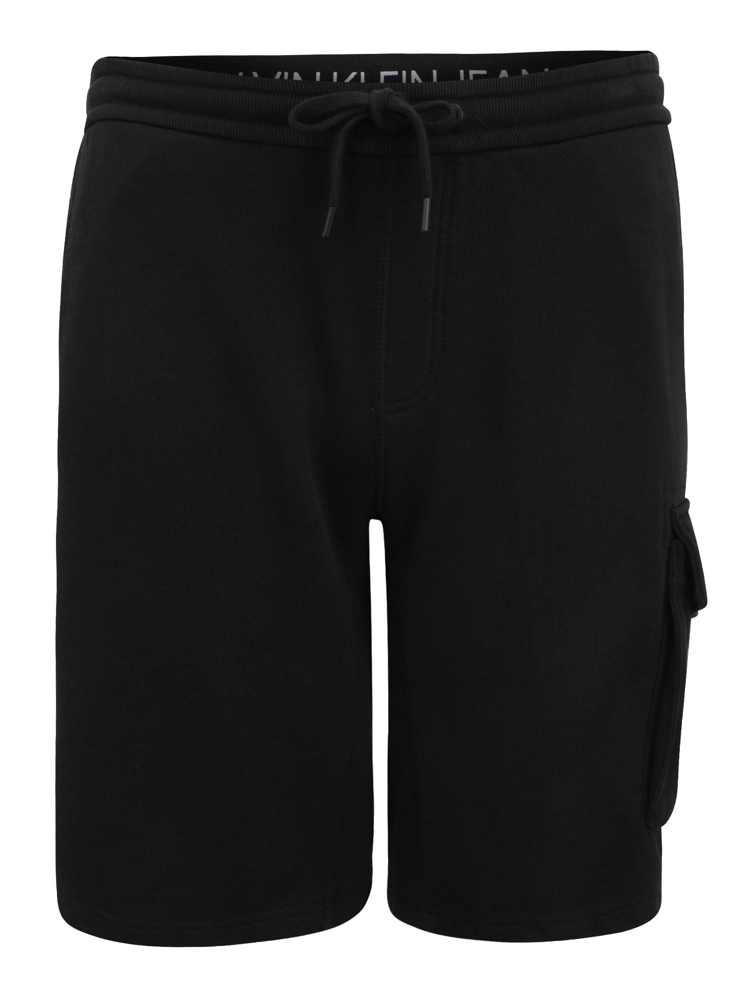 Calvin Klein Jeans Plus Laisvo stiliaus kelnės juoda / balta
