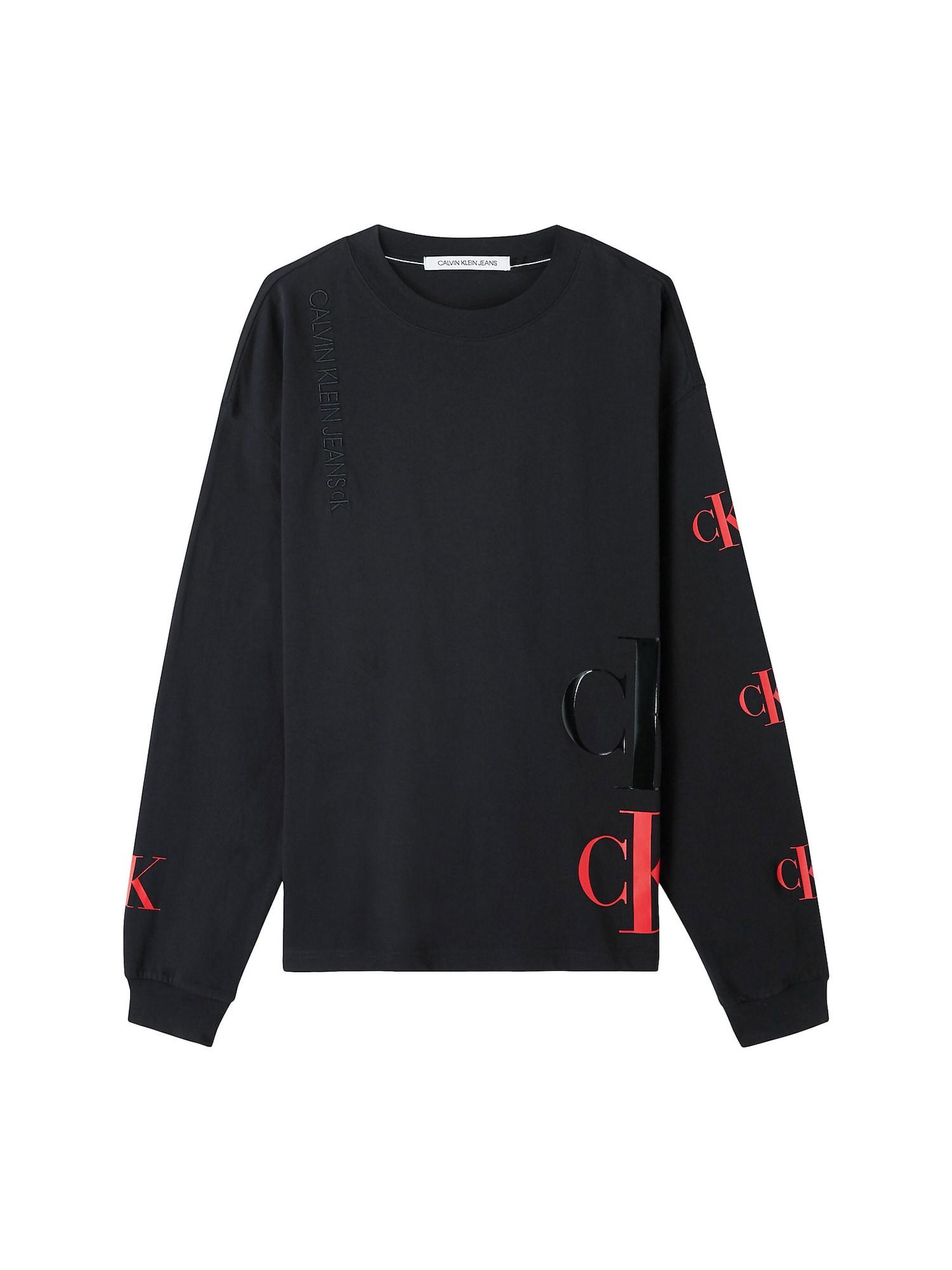Calvin Klein Jeans Marškinėliai juoda / raudona