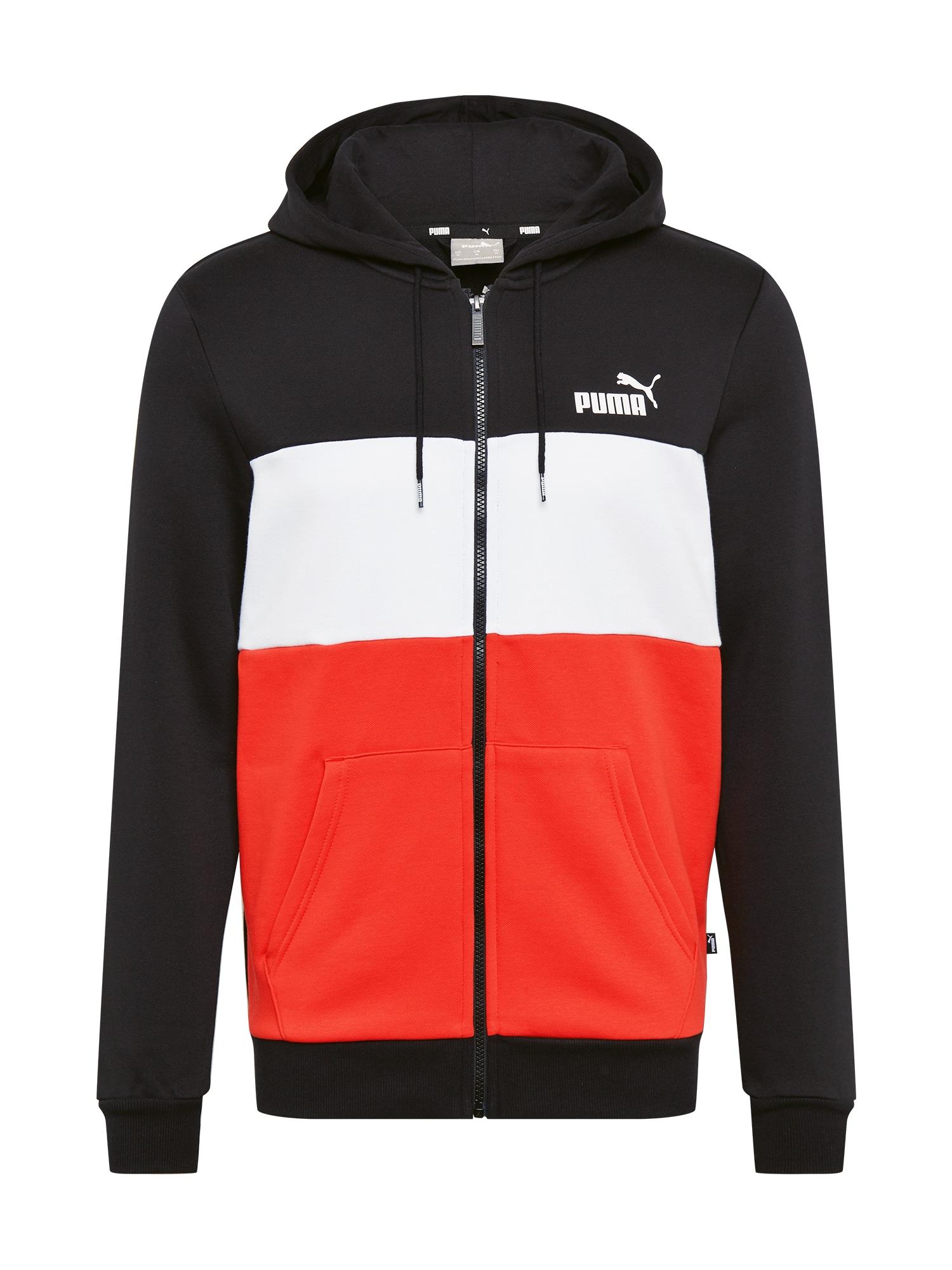 PUMA Sportinis džemperis juoda / balta / šviesiai raudona