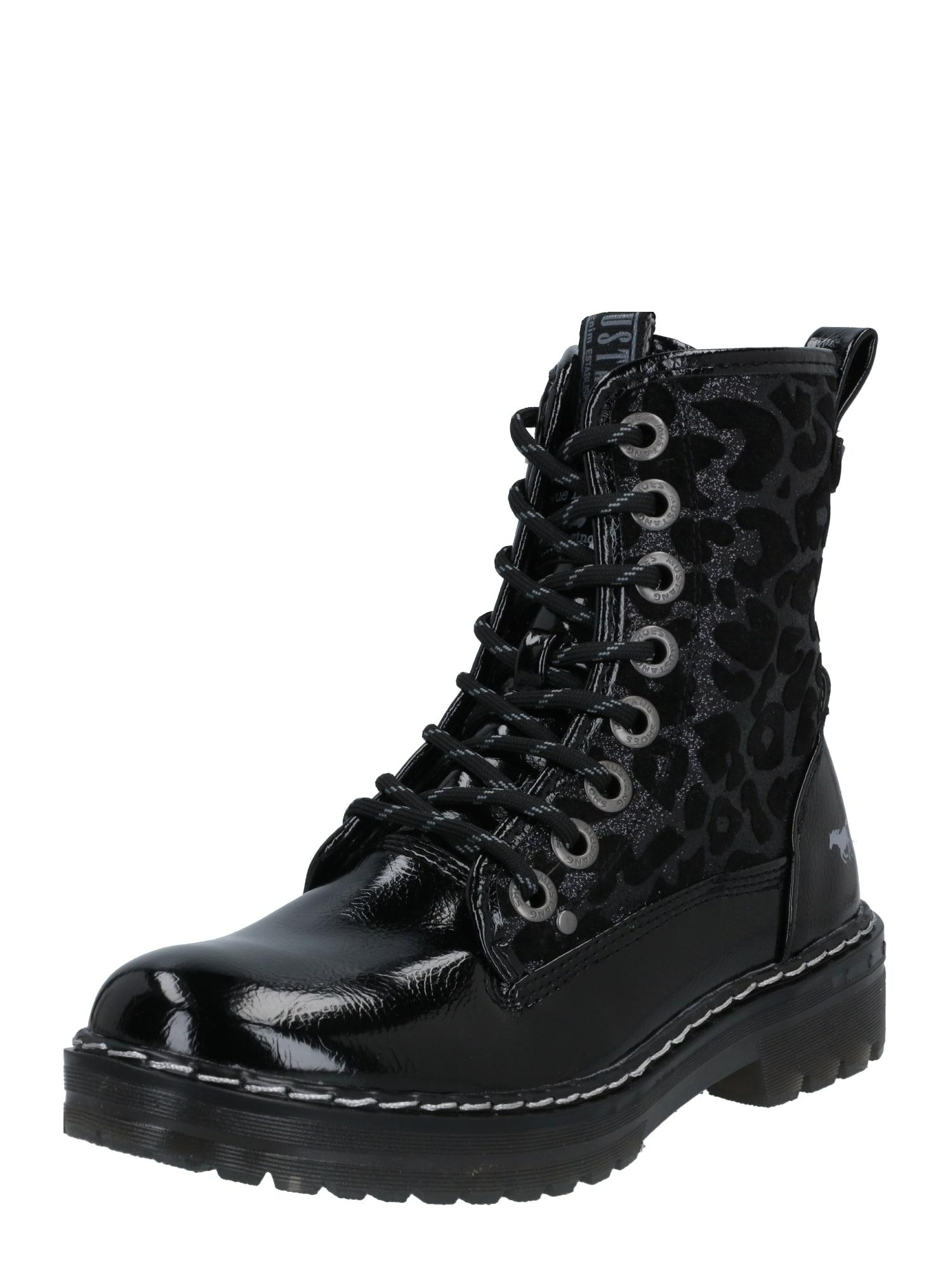 MUSTANG Šněrovací boty  černá