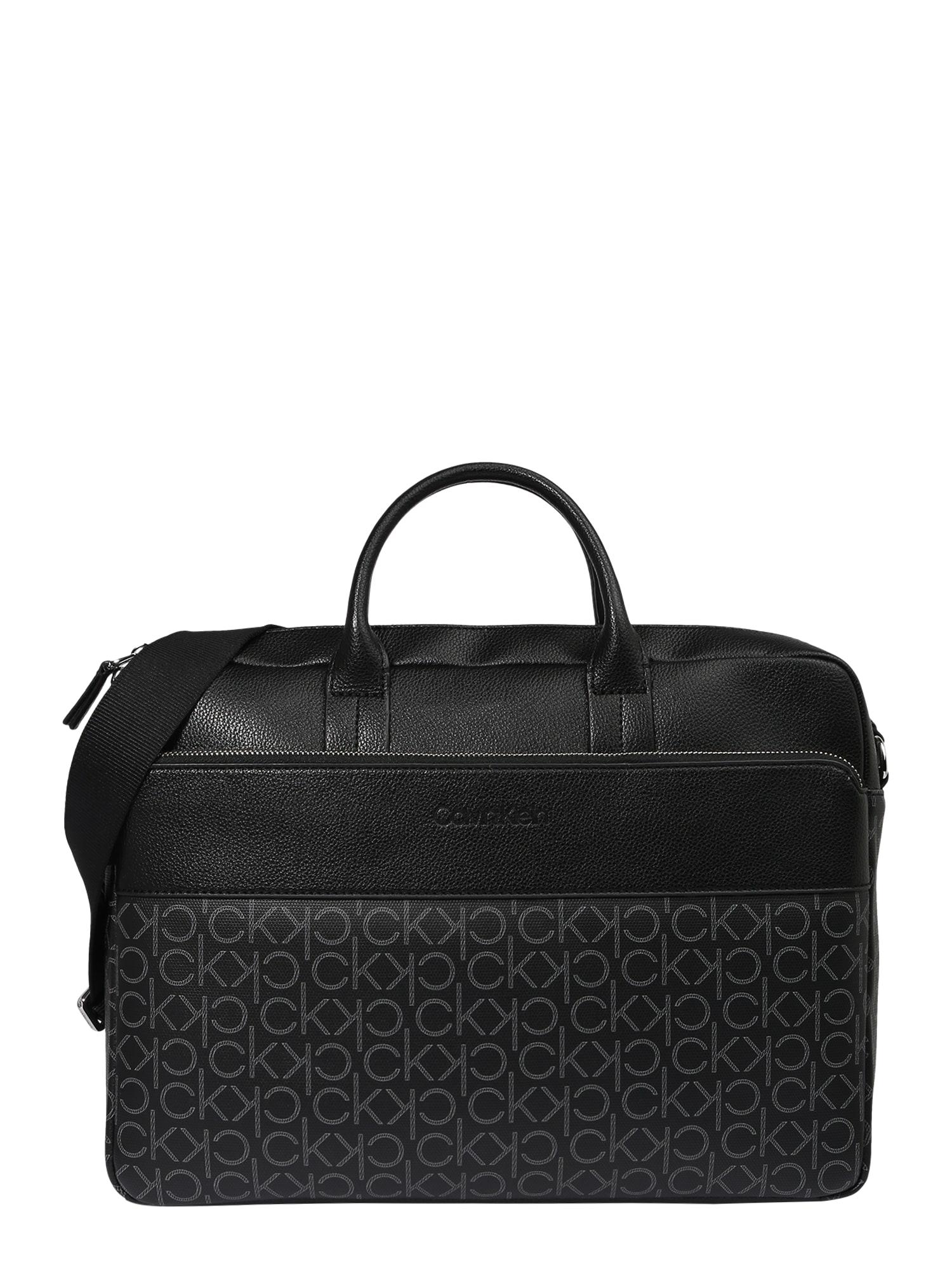 Calvin Klein Nešiojamo kompiuterio krepšys juoda / šviesiai pilka