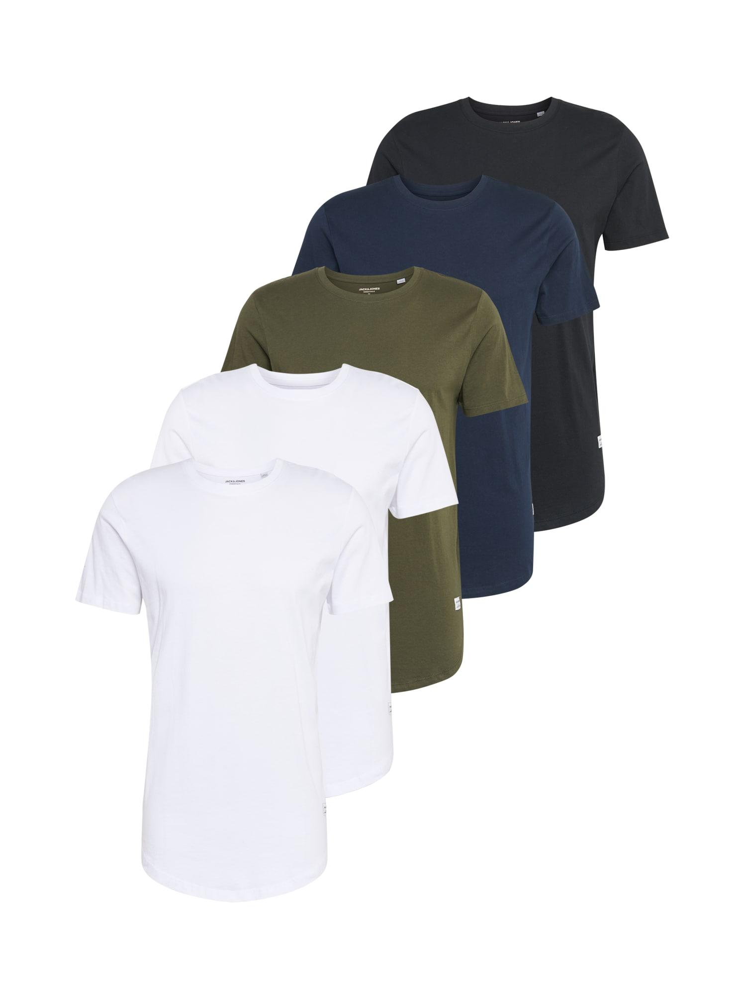 JACK & JONES Marškinėliai 'ENOA' tamsiai mėlyna / balta / juoda