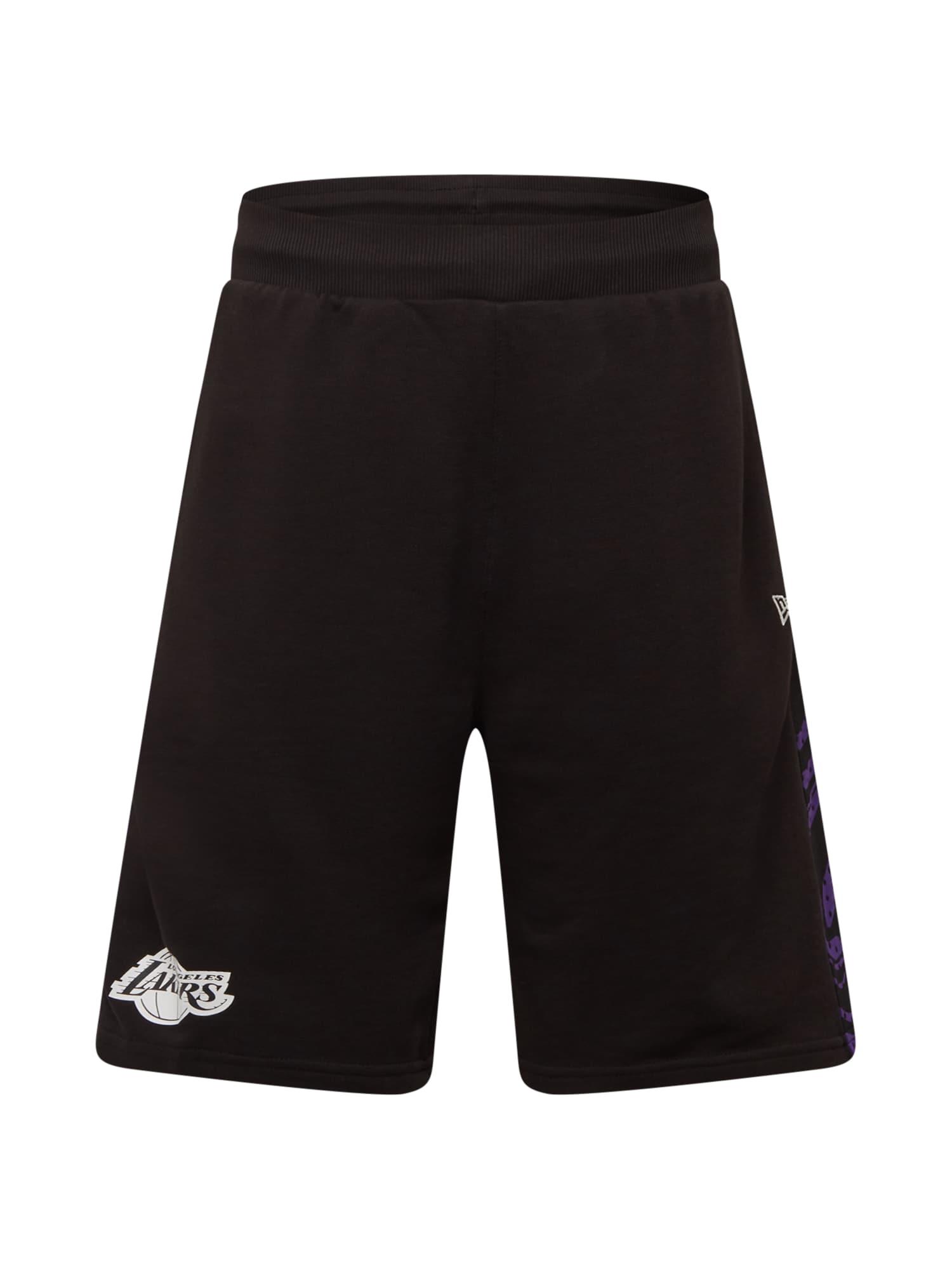 NEW ERA Kelnės juoda / balta / tamsiai violetinė