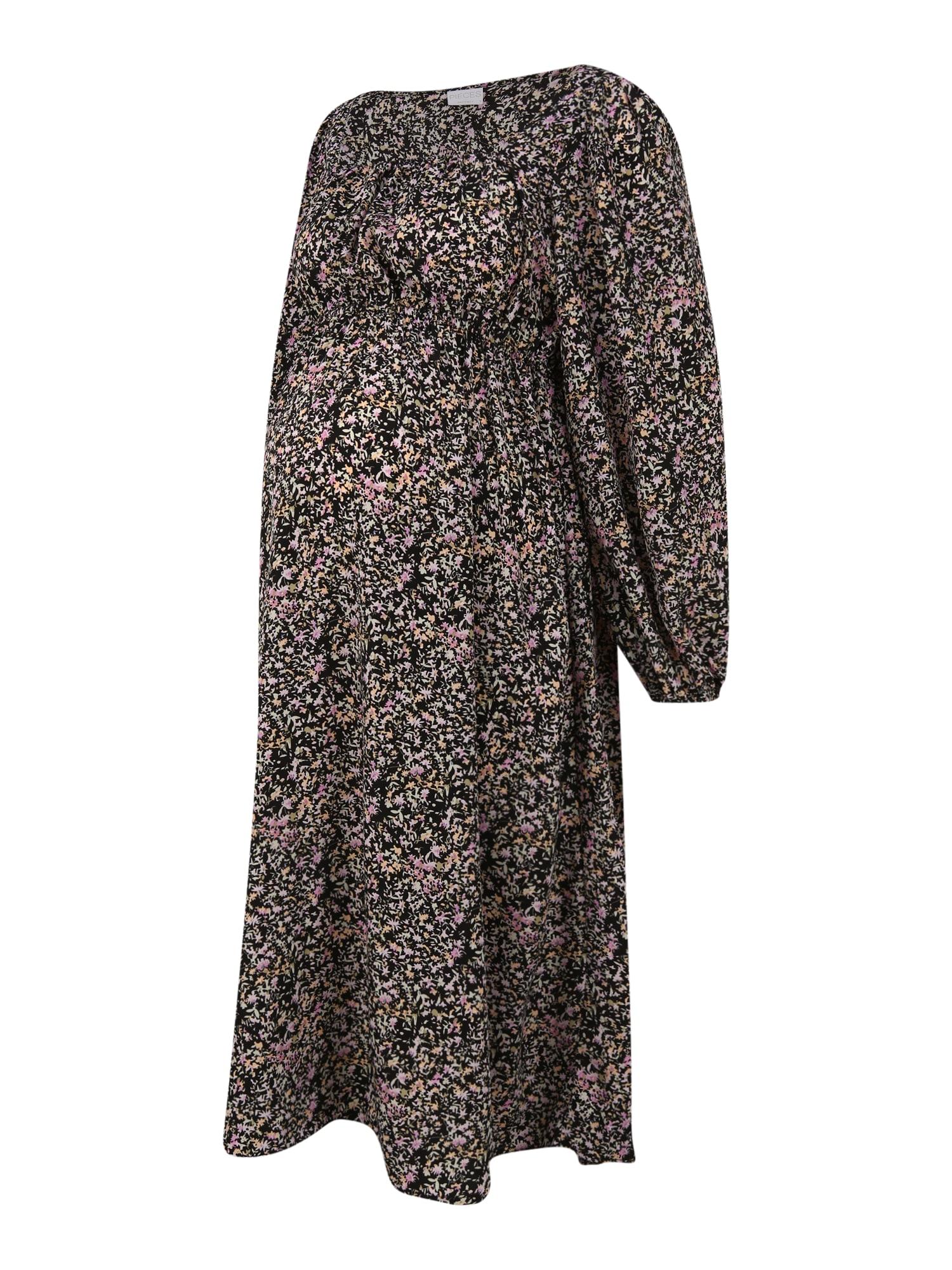 Pieces Maternity Suknelė juoda / pastelinė geltona / šviesiai rožinė
