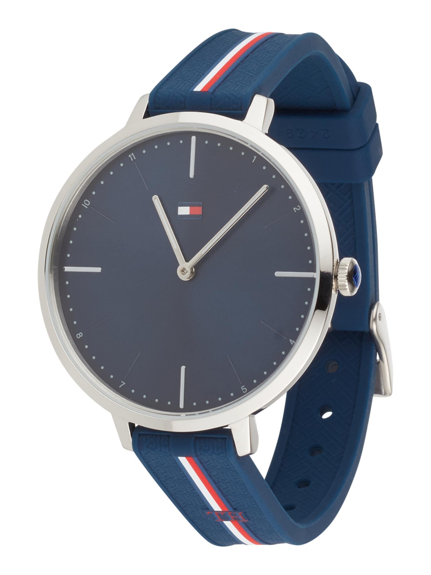 TOMMY HILFIGER Analoginis (įprasto dizaino) laikrodis margai raudona / sidabrinė / balta / tamsiai mėlyna