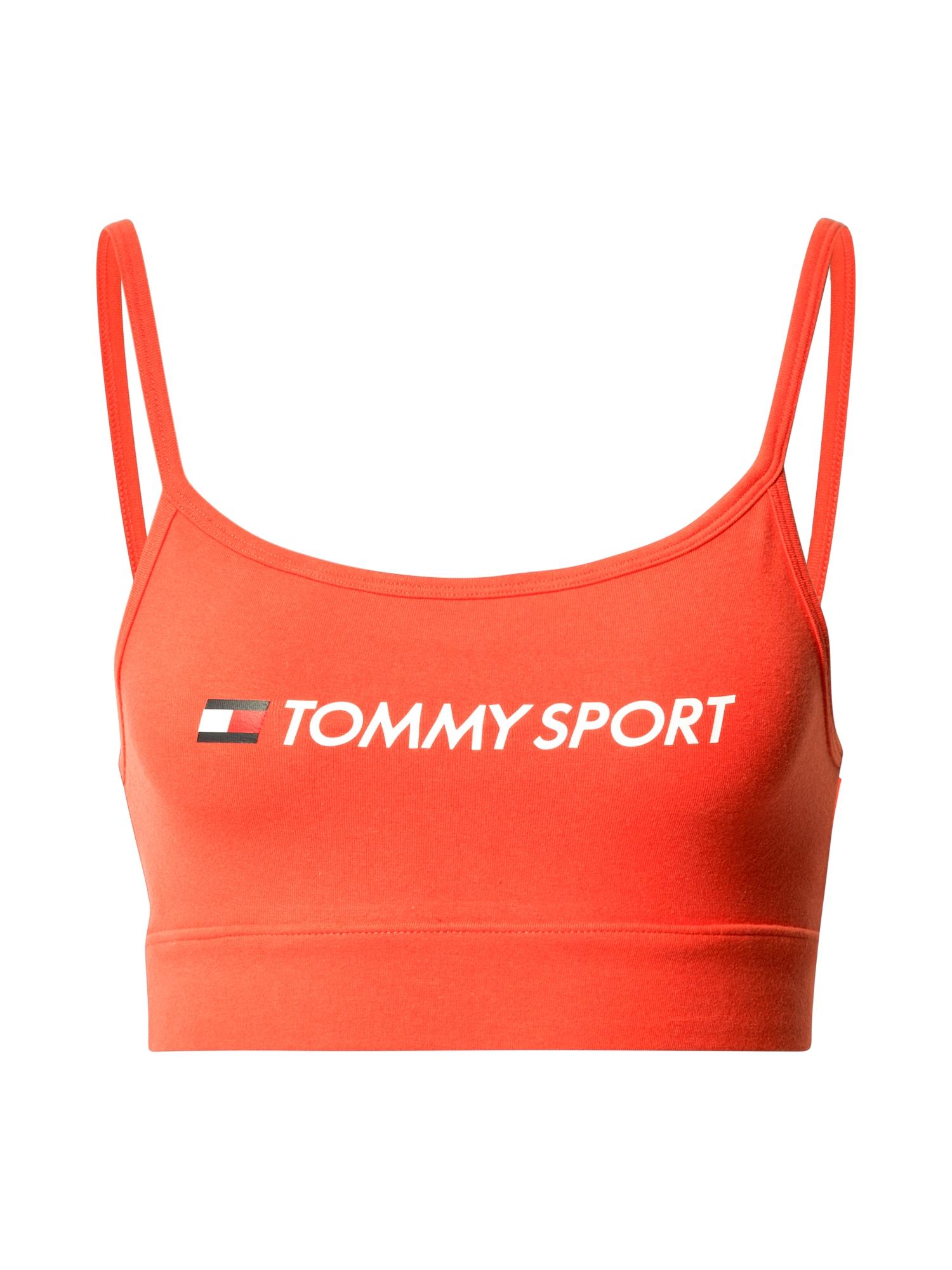 Tommy Sport Sportovní podprsenka  oranžově červená / bílá