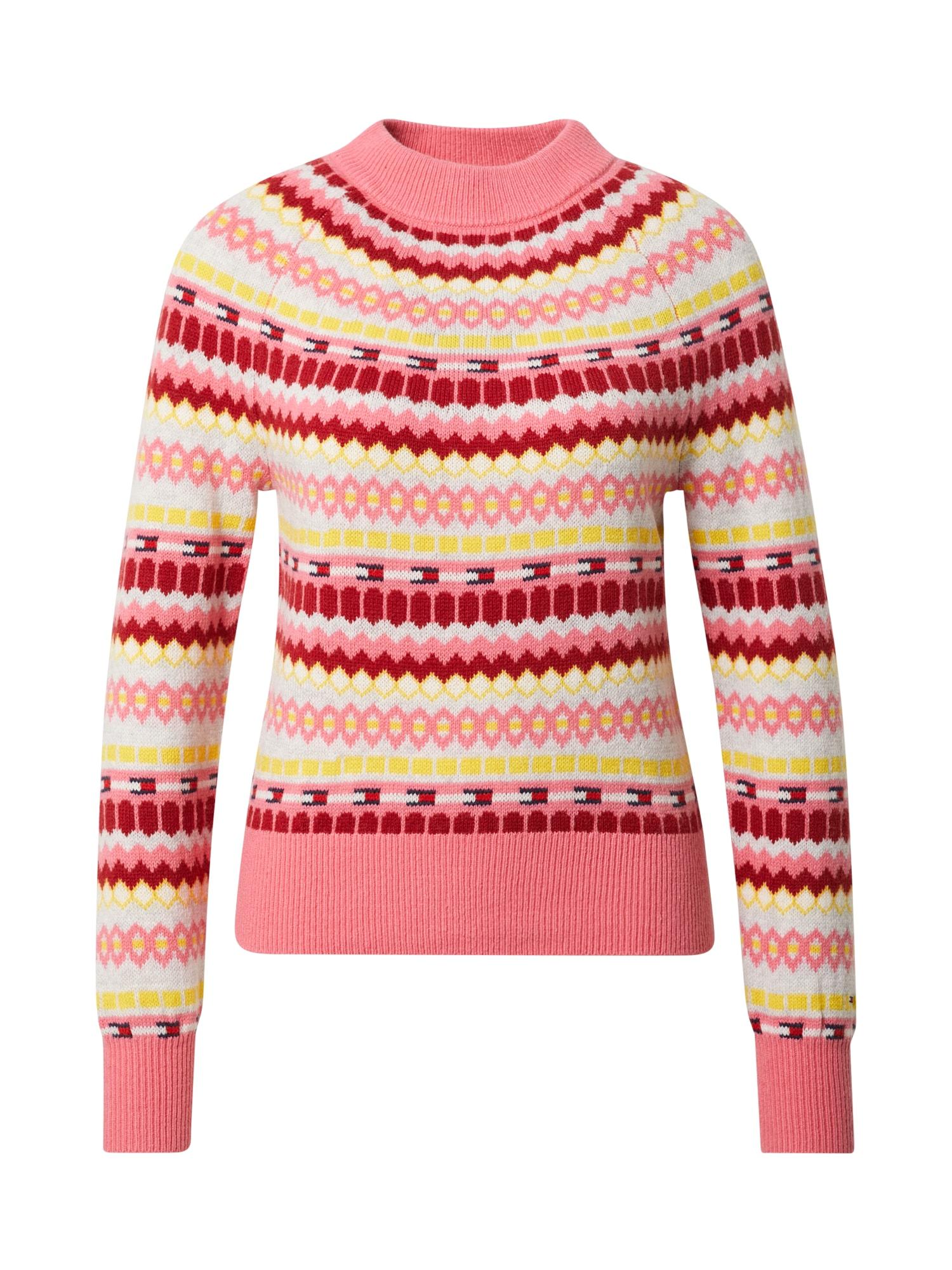 Tommy Jeans Svetr 'FAIRISLE'  béžová / pink / žlutá / tmavě červená