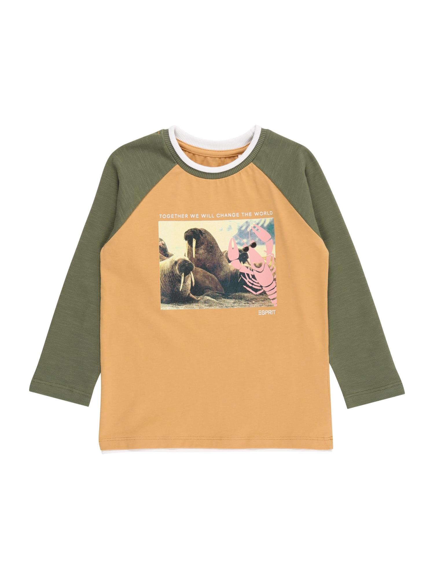 ESPRIT KIDS Marškinėliai karamelės / alyvuogių spalva / rožių spalva / balta / pastelinė geltona