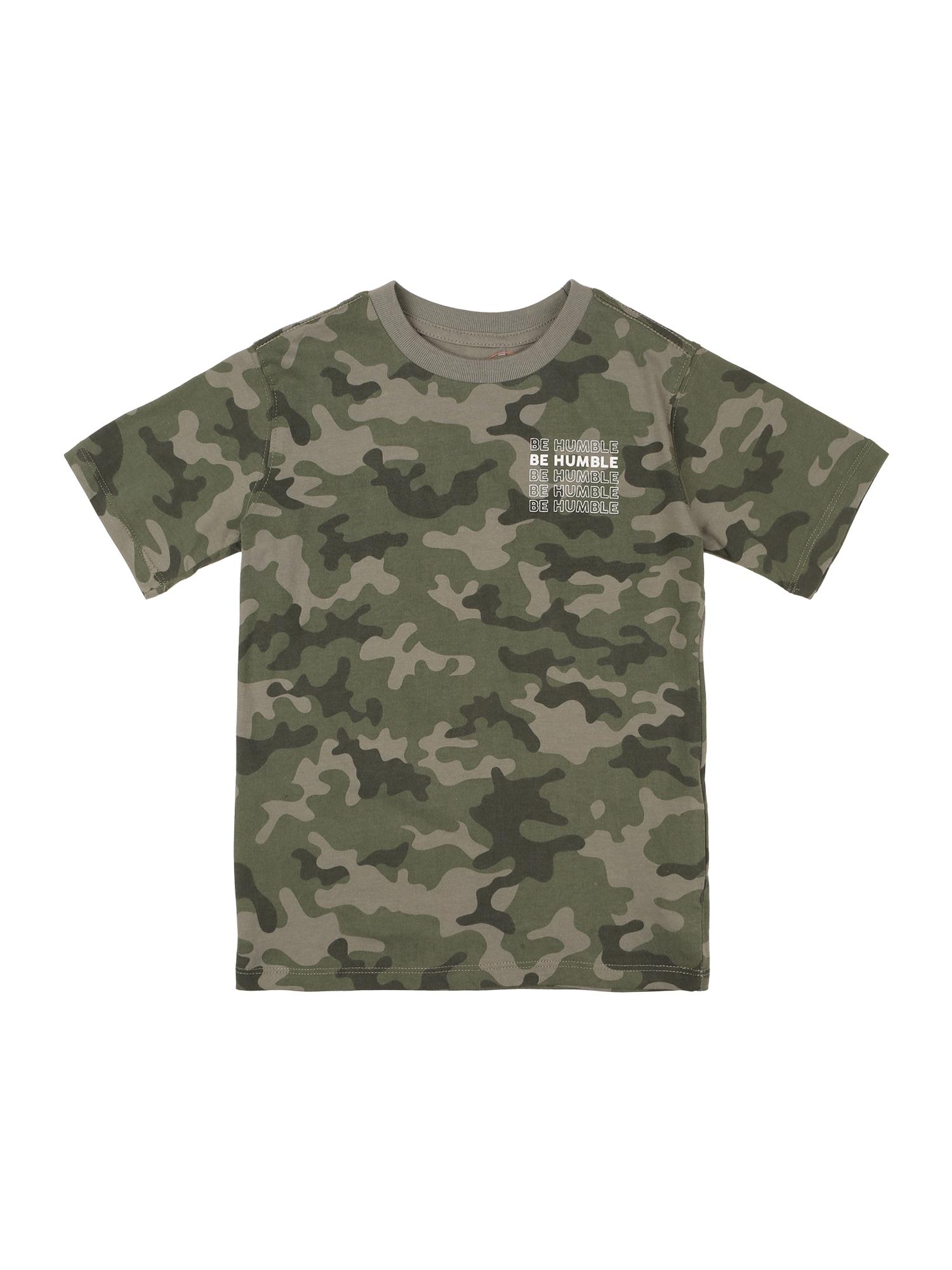 Cotton On Tričko 'Max'  khaki / černý melír / režná / bílá