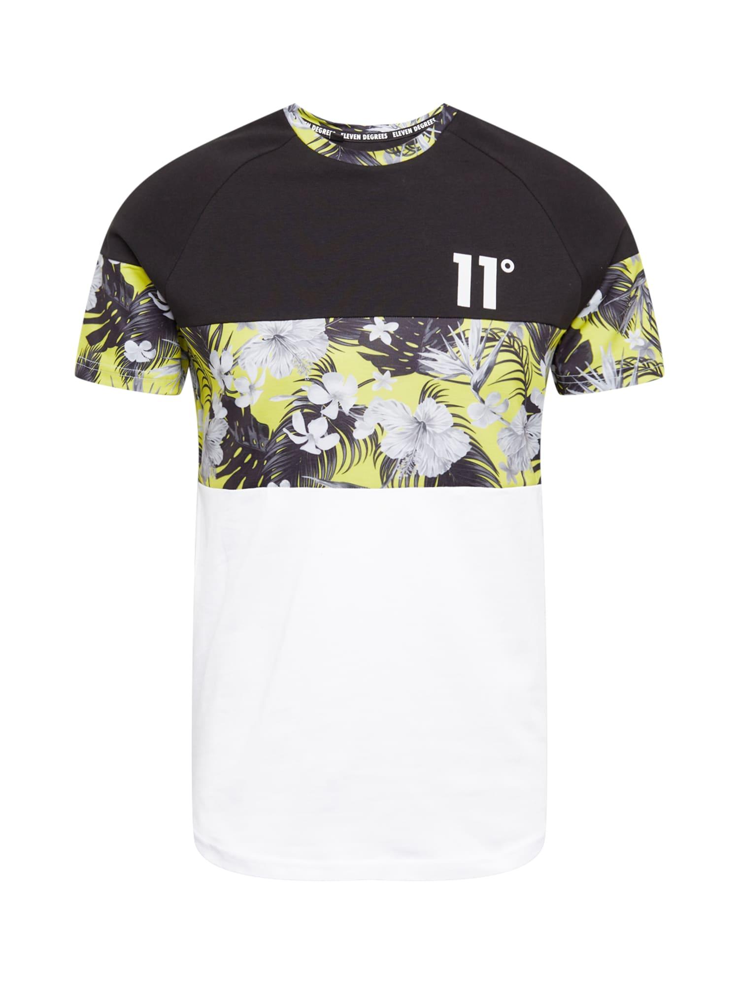11 Degrees Marškinėliai balta / juoda / geltona