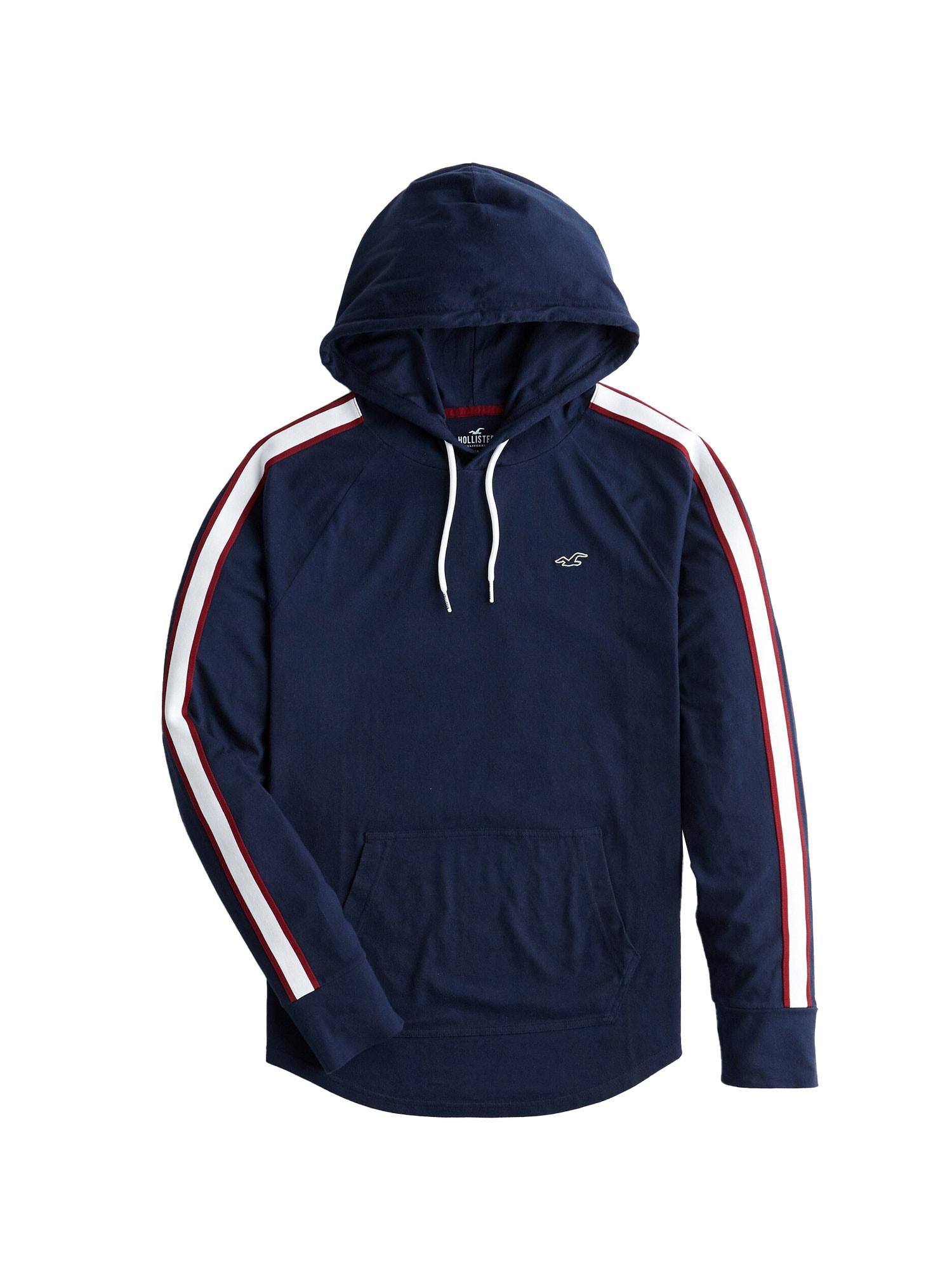 HOLLISTER Marškinėliai tamsiai mėlyna / balta / tamsiai raudona