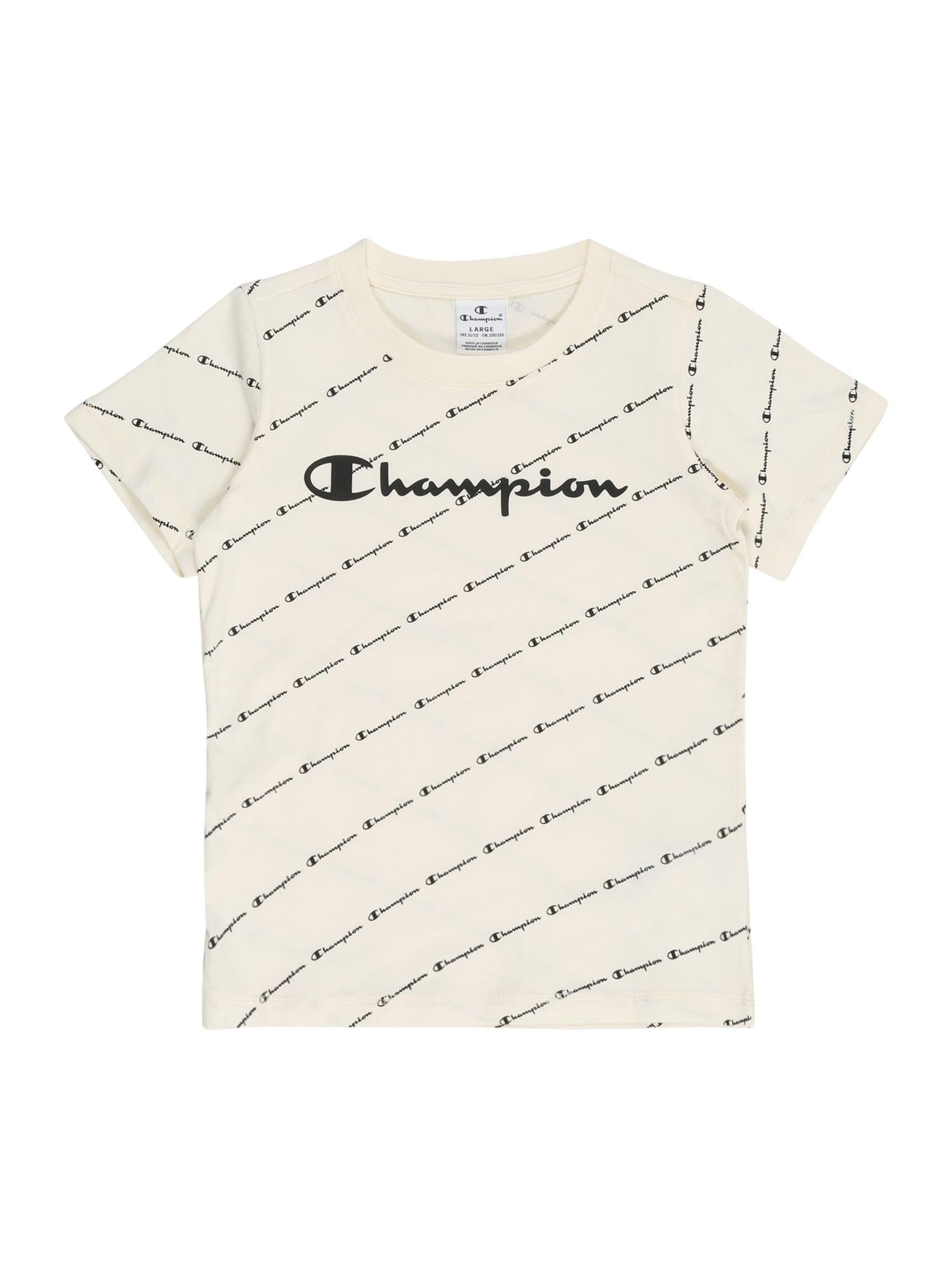 Champion Authentic Athletic Apparel Marškinėliai balkšva / juoda