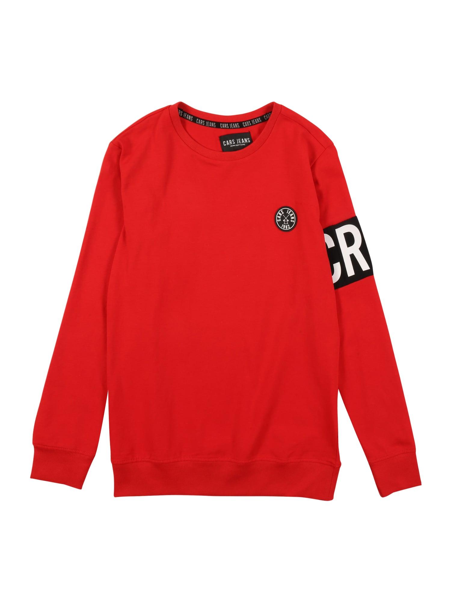 Cars Jeans Mikina 'OBBY'  červená / černá / bílá