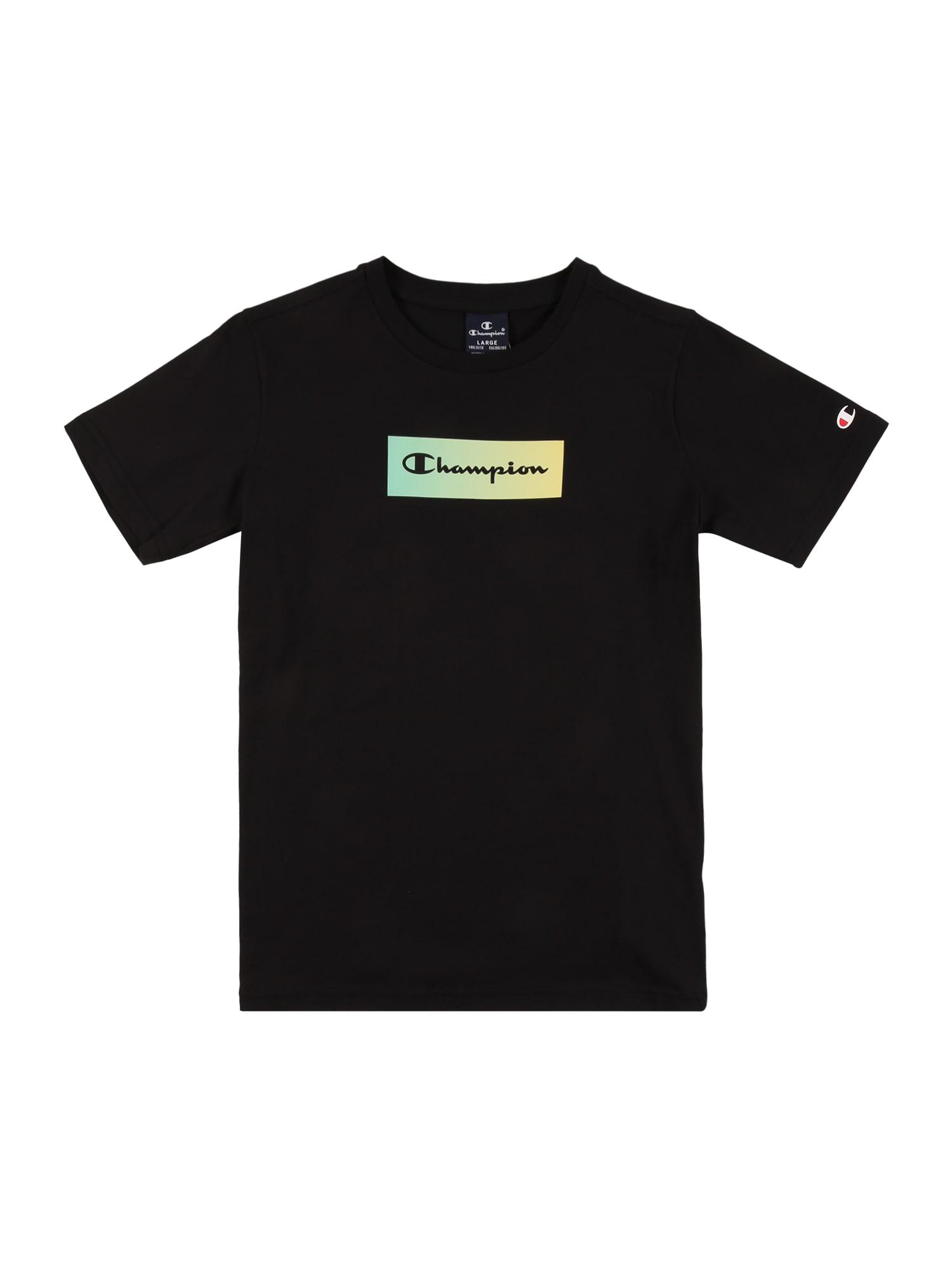 Champion Authentic Athletic Apparel Marškinėliai juoda / mėtų spalva / pastelinė geltona