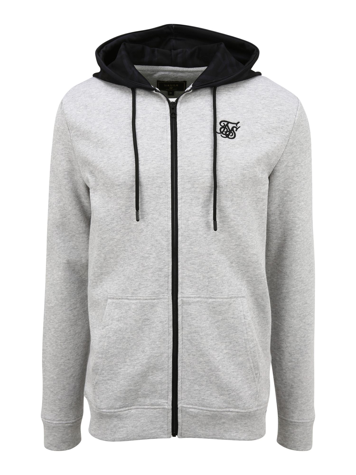 SikSilk Džemperis juoda / margai pilka
