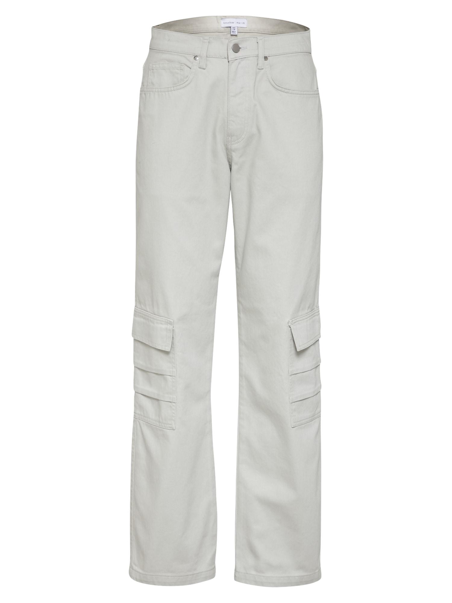 NU-IN Darbinio stiliaus džinsai kiaušinio lukšto spalva
