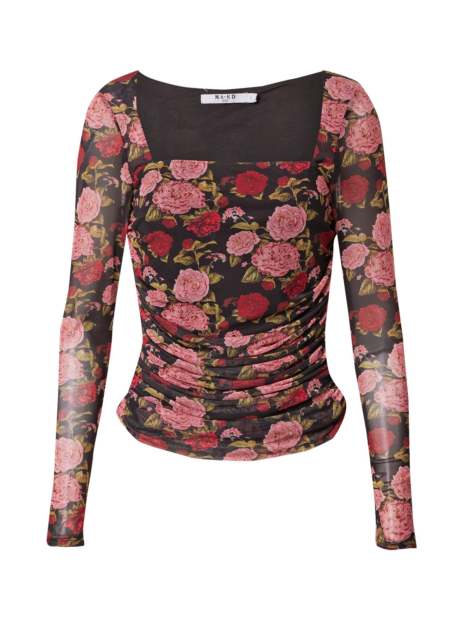 NA-KD Marškinėliai rožių spalva / juoda / raudona / alyvuogių spalva