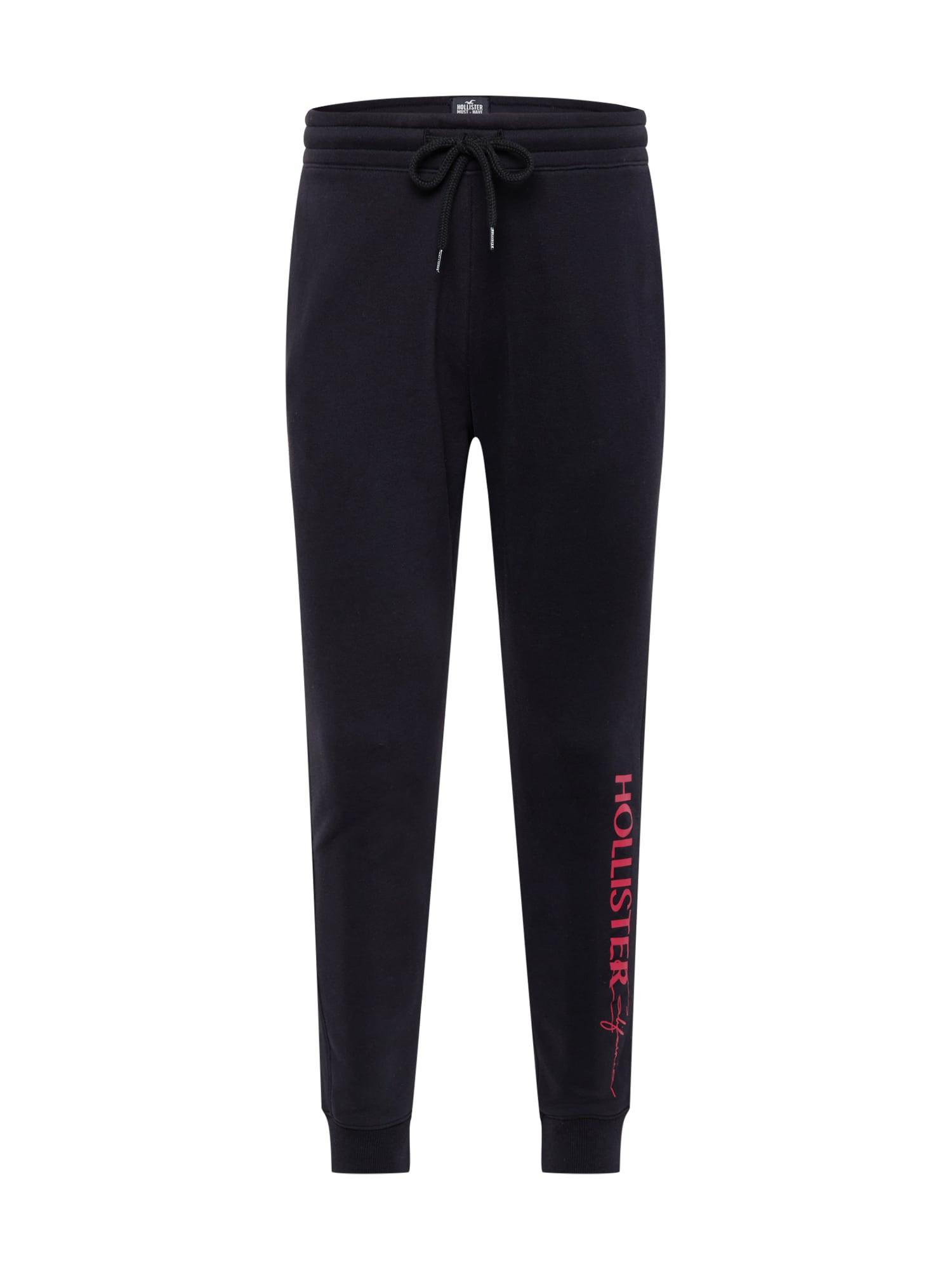 HOLLISTER Kalhoty  černá / malinová