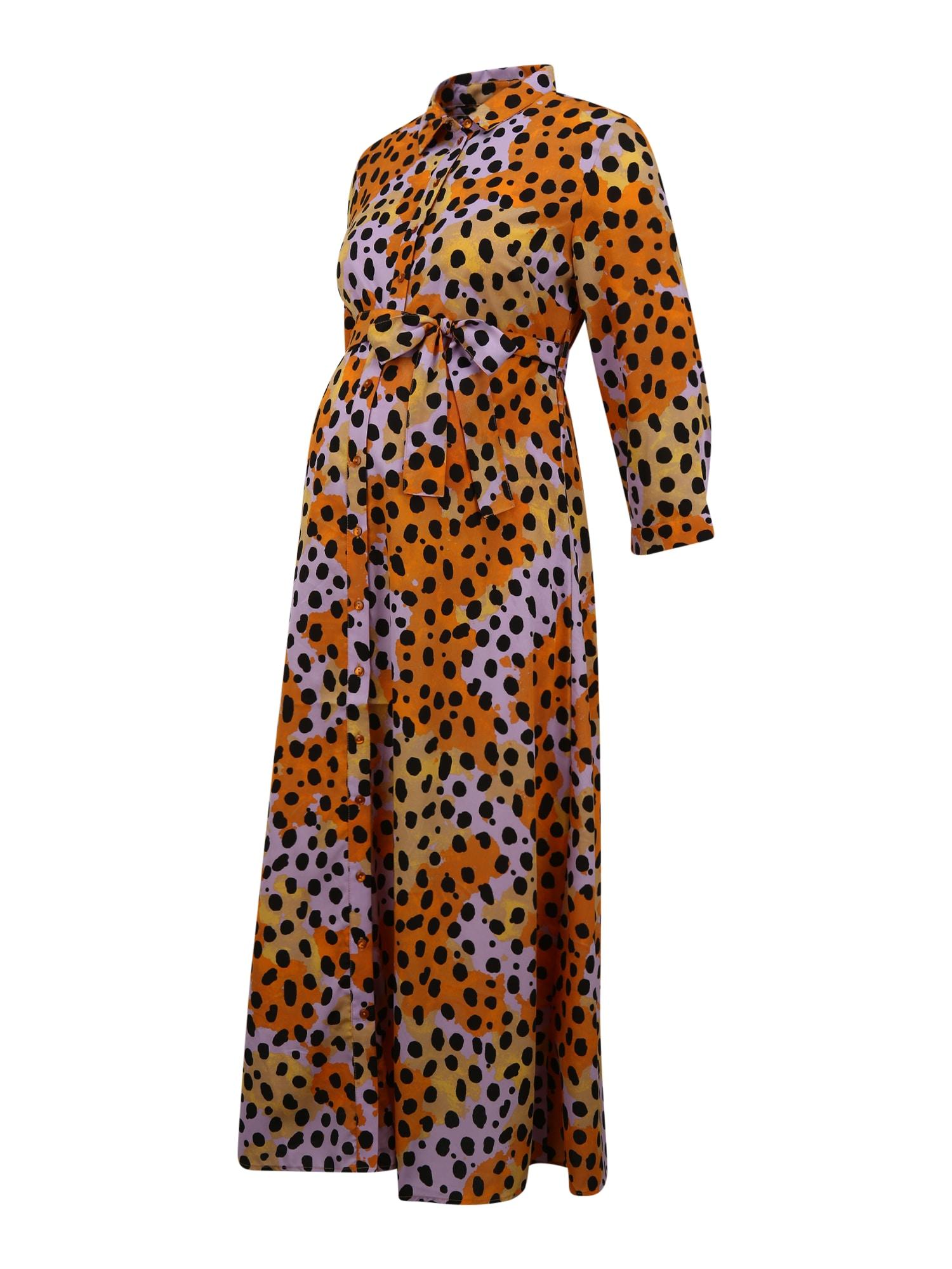 Pieces Maternity Suknelė balta / juoda / šviesiai oranžinė