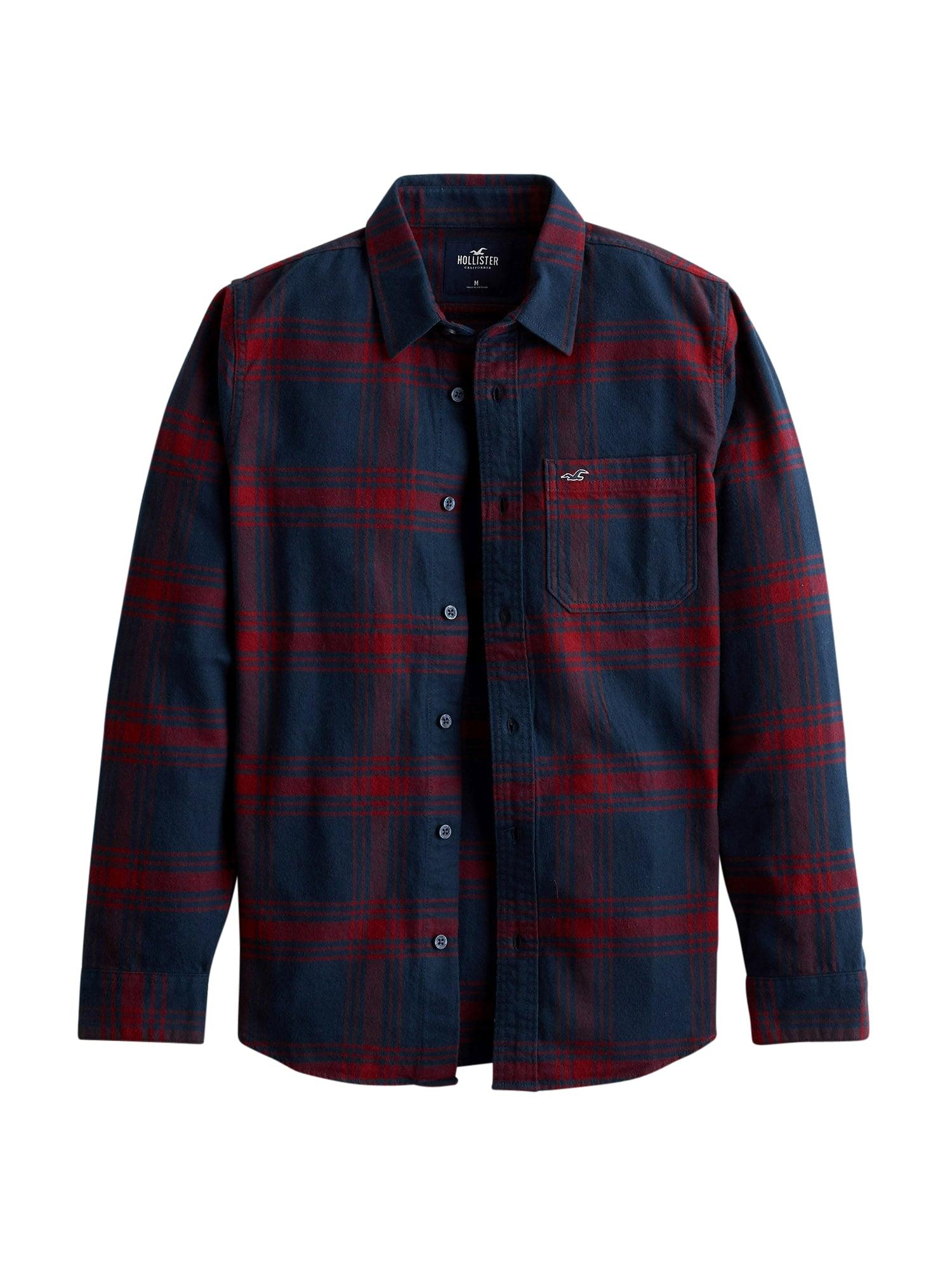 HOLLISTER Marškiniai tamsiai mėlyna / tamsiai raudona
