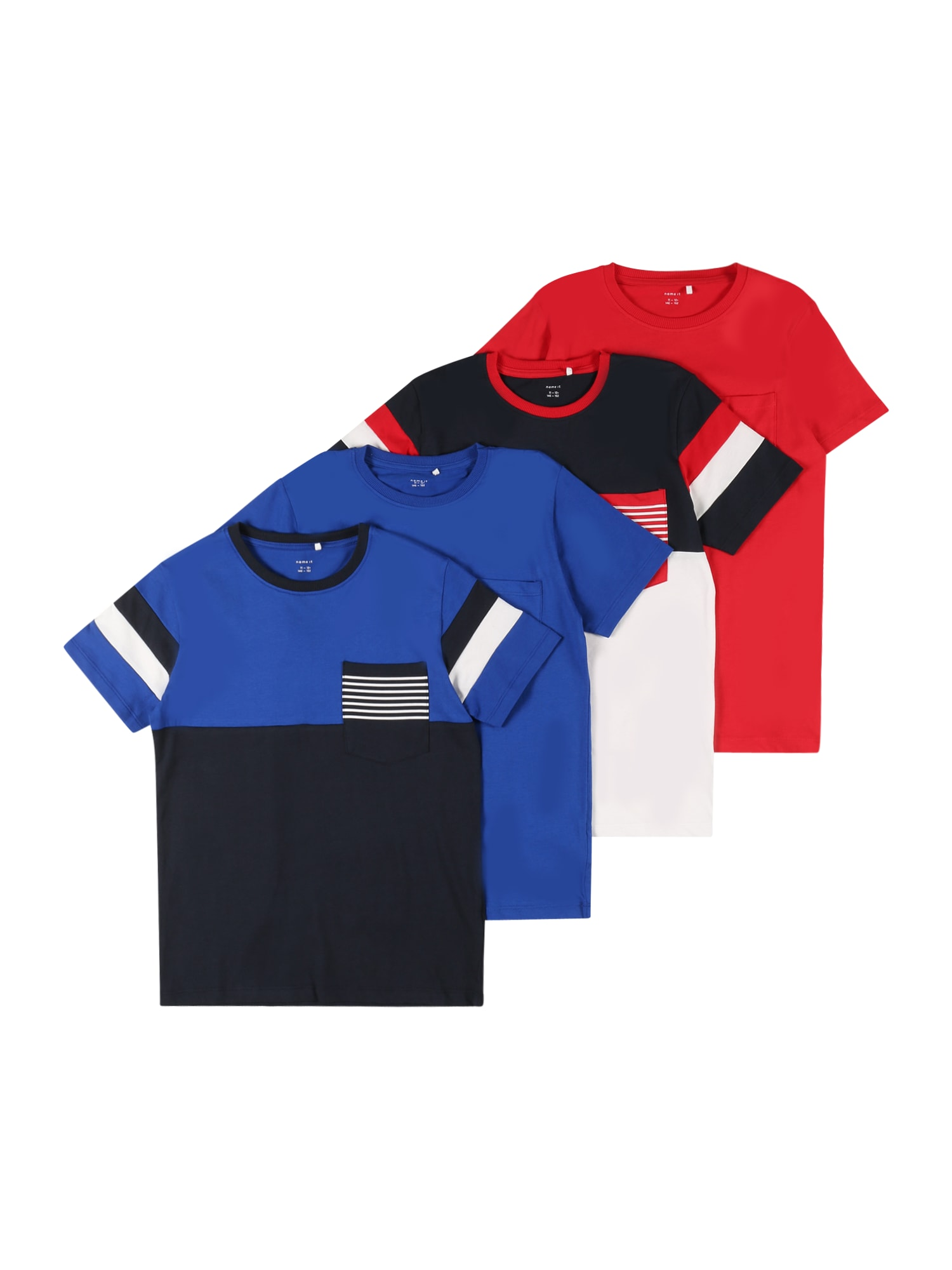 NAME IT Tričko 'NES'  noční modrá / nebeská modř / bílá / červená