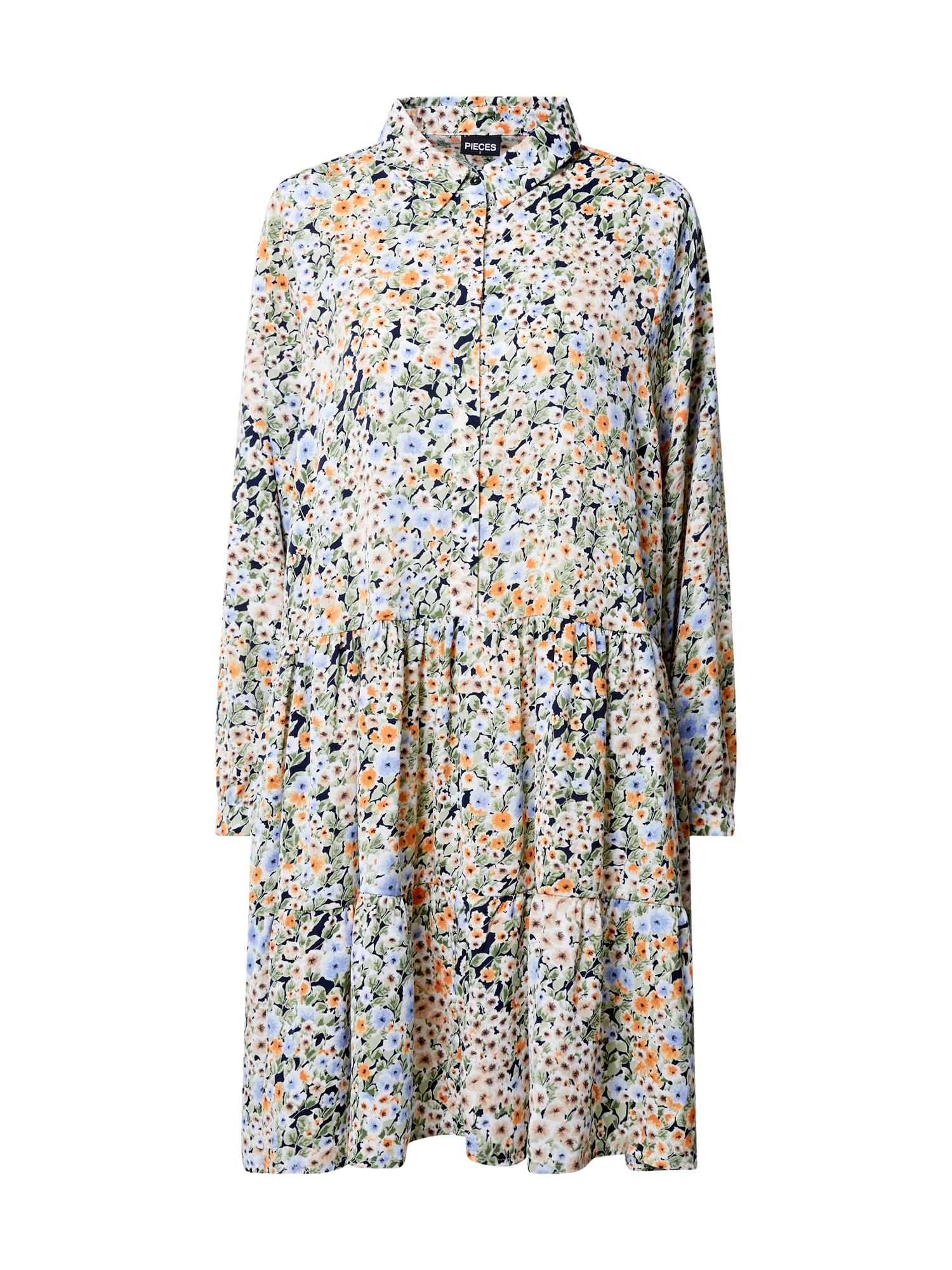 PIECES Košilové šaty 'Akija'  tmavě modrá / mix barev