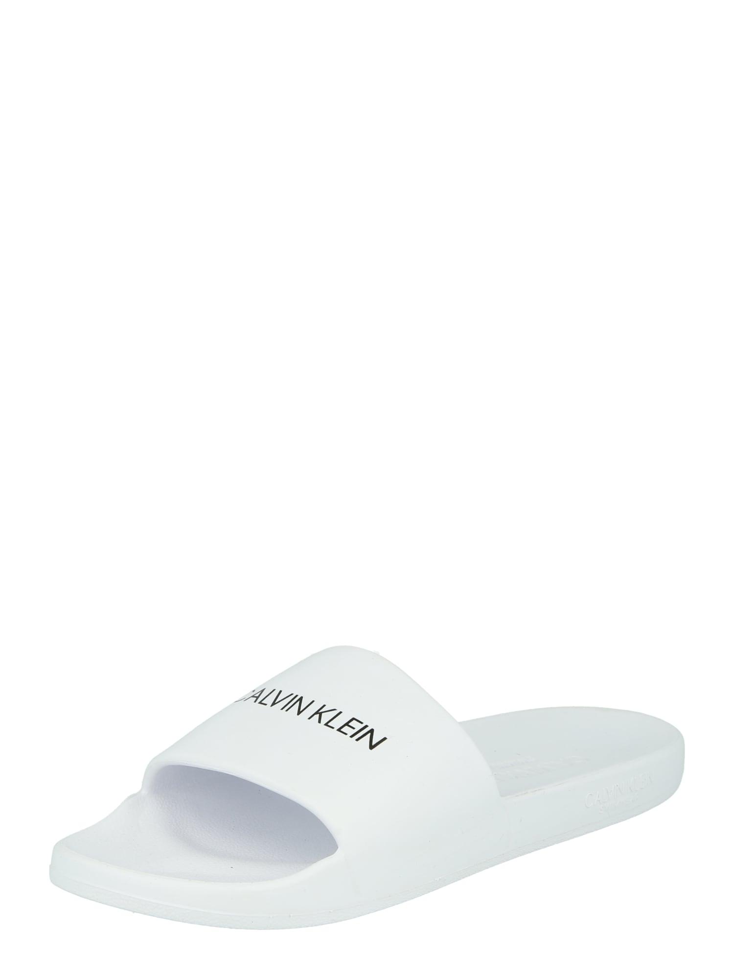 Calvin Klein Swimwear Atviri batai 'ONE MOLD SLIDE' balta / juoda