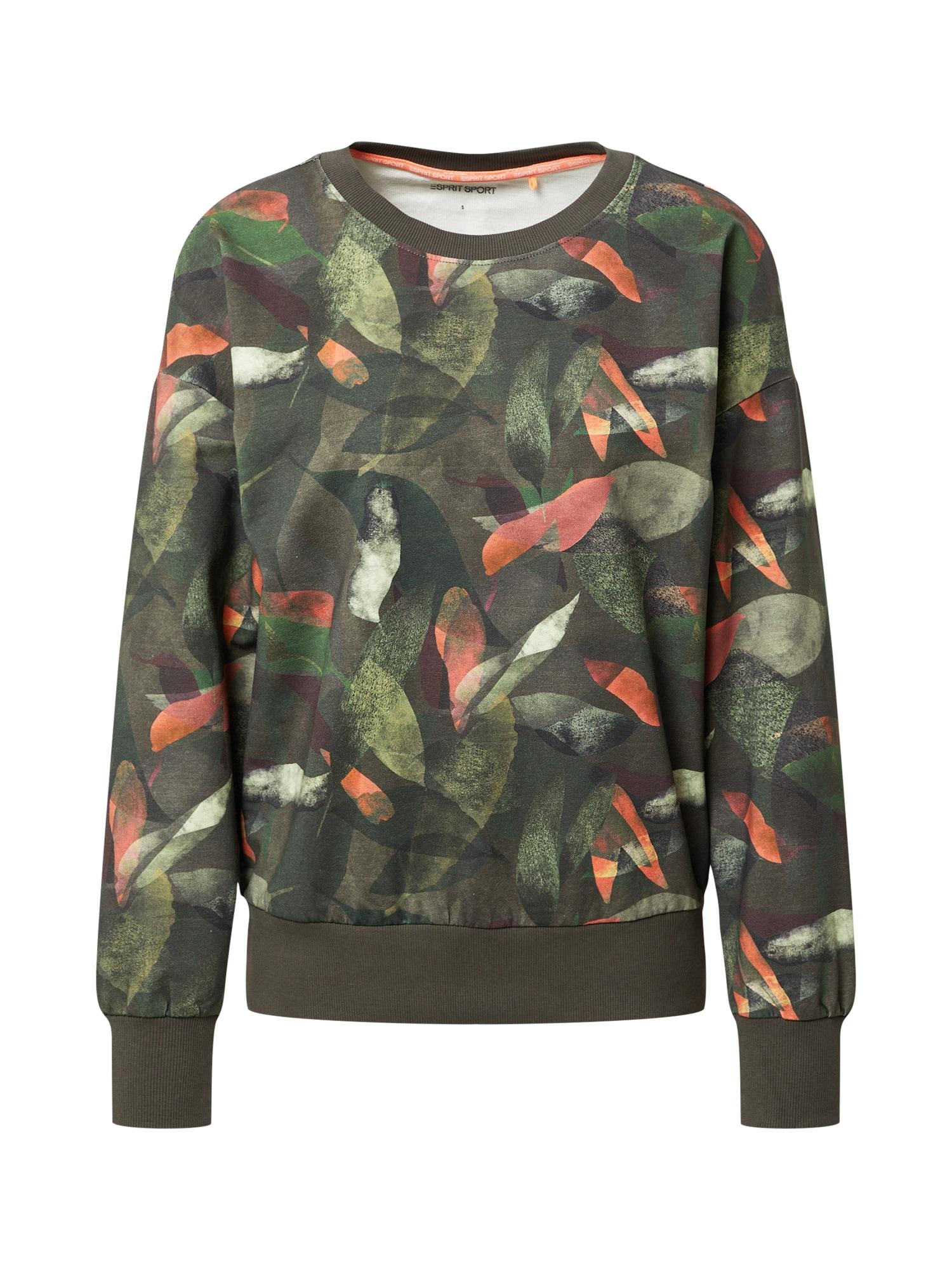 ESPRIT SPORT Sportinio tipo megztinis rusvai žalia / tamsiai žalia / alyvuogių spalva / koralų splava