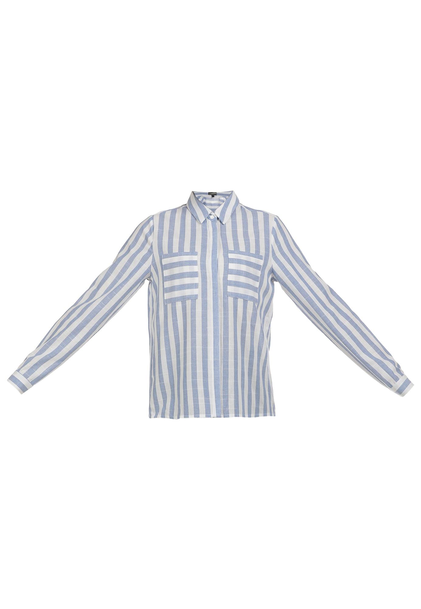 DreiMaster Vintage Palaidinė balta / mėlyna dūmų spalva