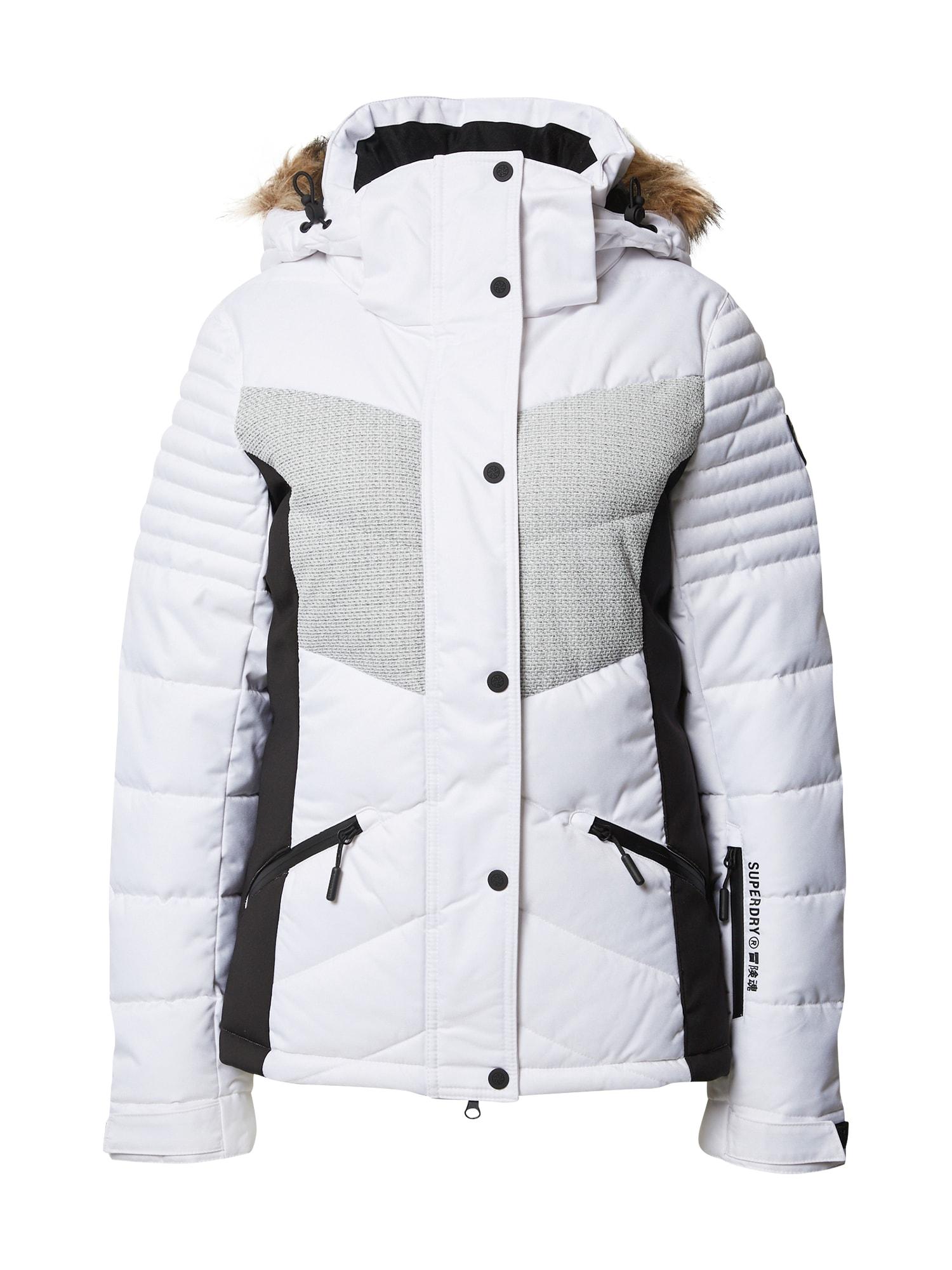 Superdry Snow Sportovní bunda  bílá / světle šedá / černá