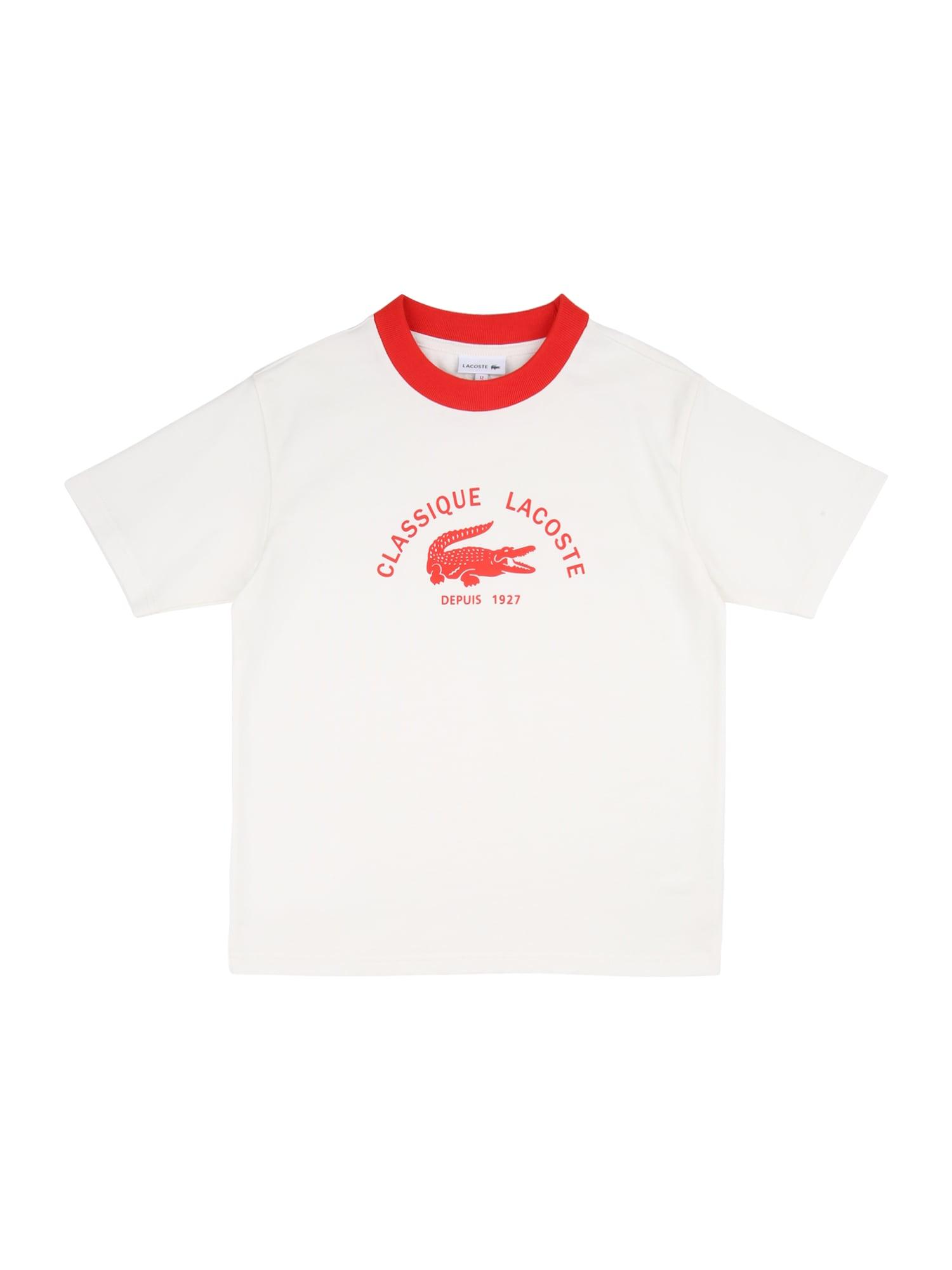LACOSTE Marškinėliai balta / šviesiai raudona