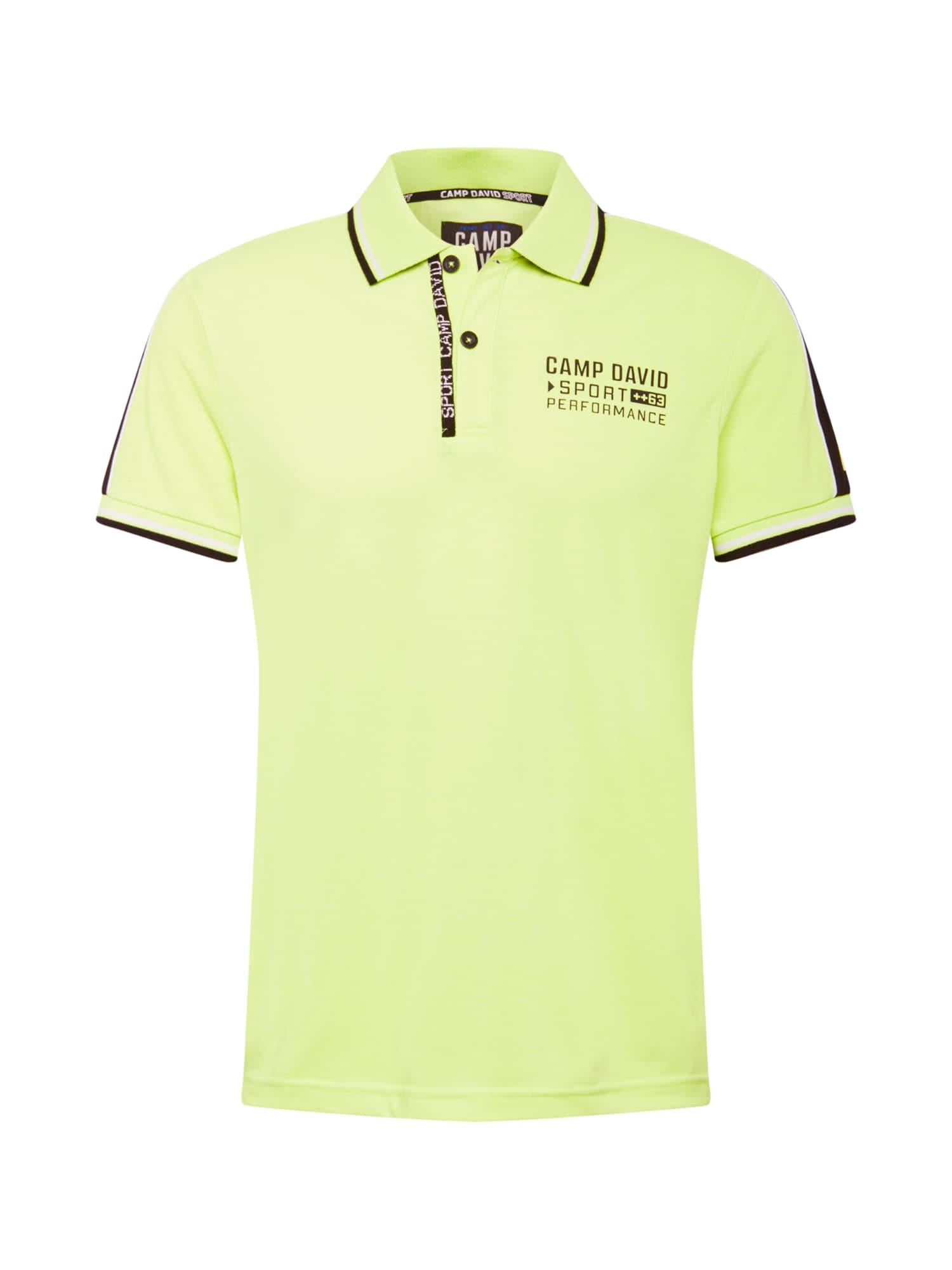 CAMP DAVID Marškinėliai šviesiai geltona / balta / šokolado spalva