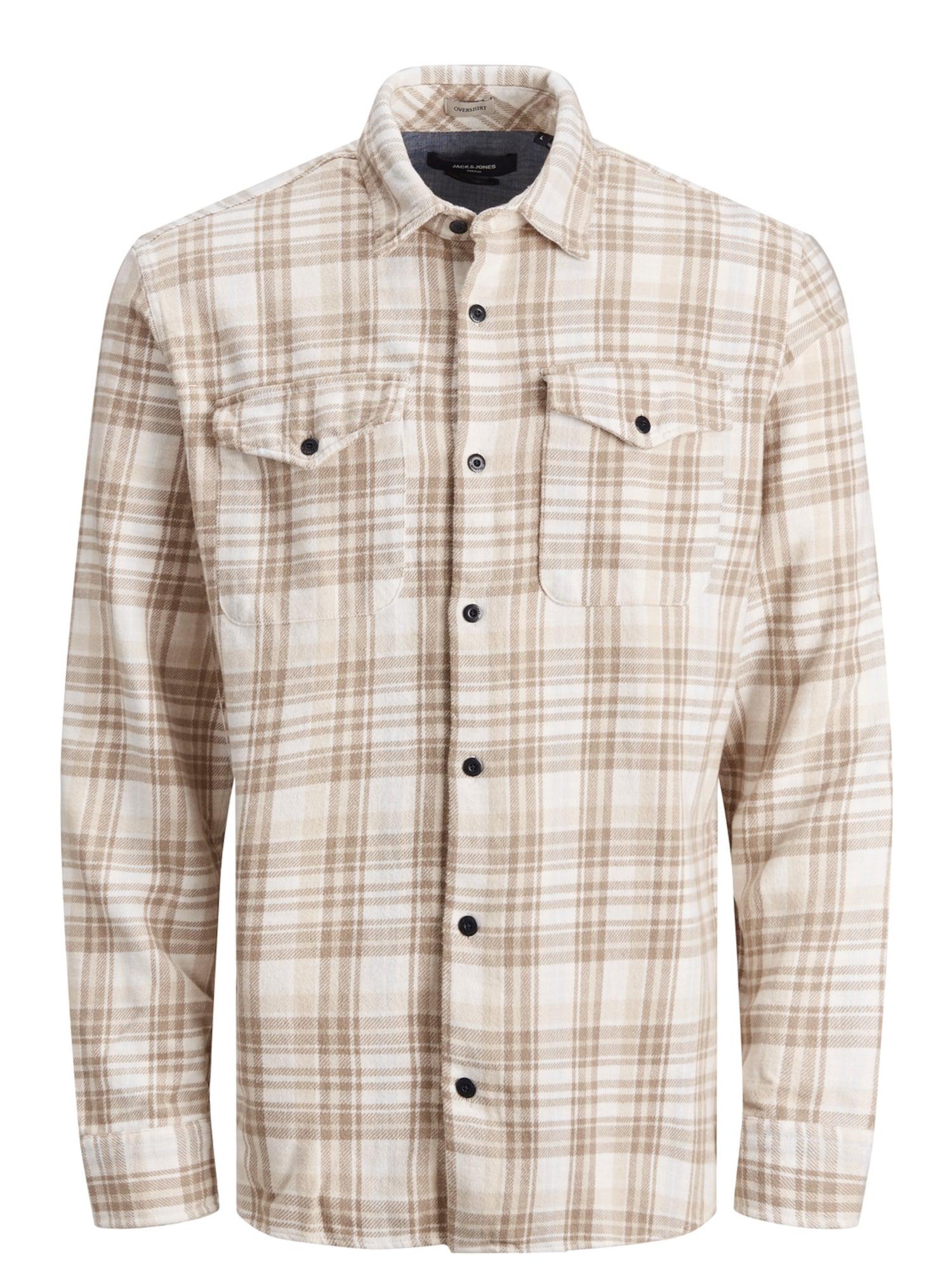 JACK & JONES Košile 'Jason'  bílá / hnědá
