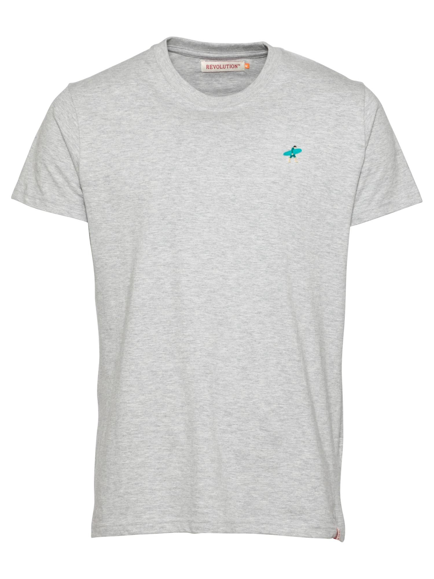 Revolution Marškinėliai margai pilka / turkio spalva / benzino spalva / smėlio spalva