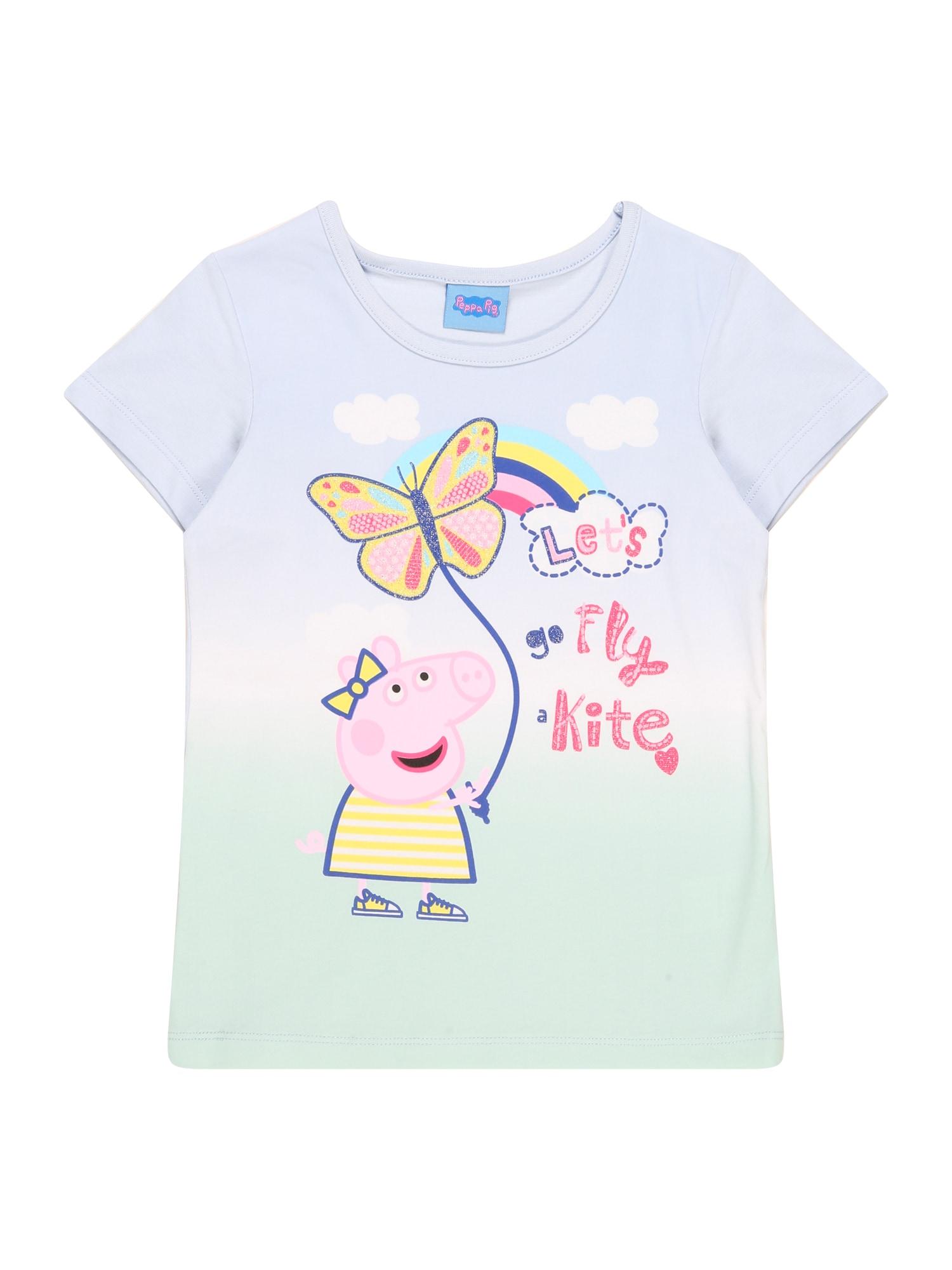Peppa Pig Marškinėliai šviesiai mėlyna / pastelinė žalia / balta / geltona / rožinė / mišrios spalvos