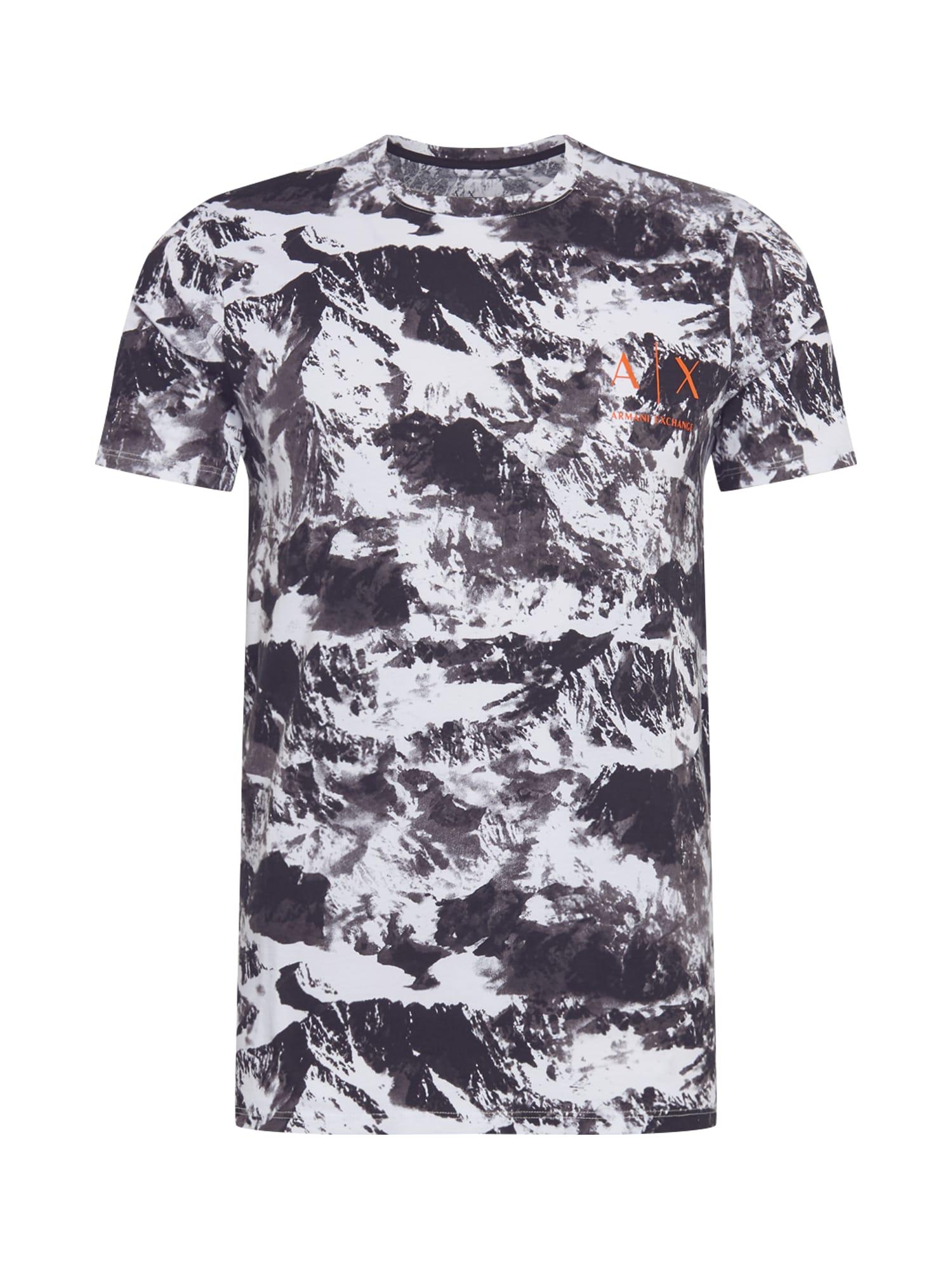 ARMANI EXCHANGE Tričko '6HZTEC'  černá / bílá / oranžová