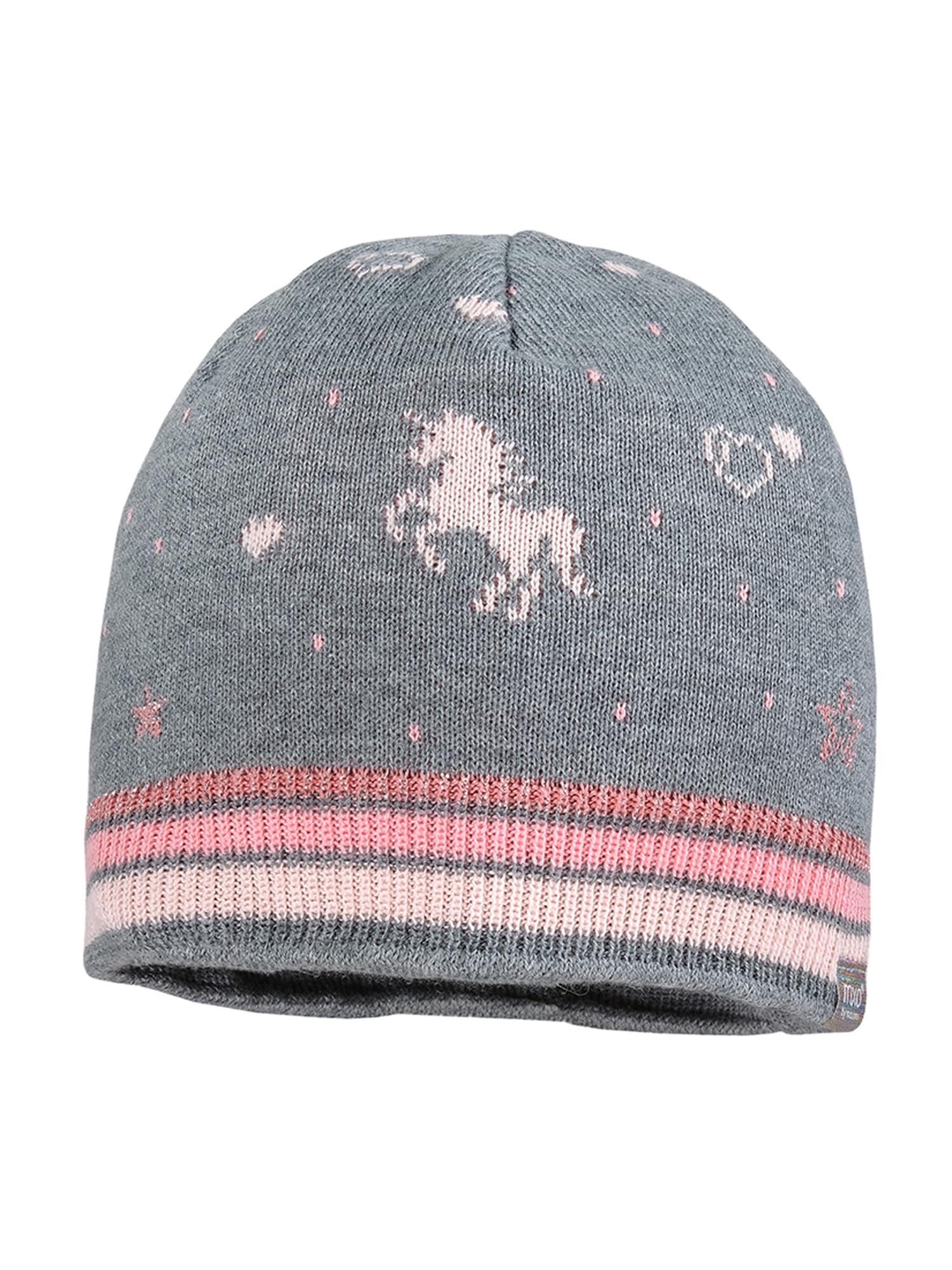 MAXIMO Megzta kepurė margai pilka / šviesiai rožinė / rožių spalva