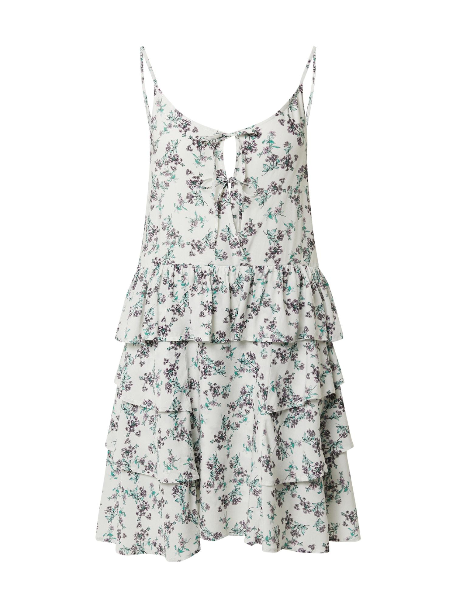 REPLAY Vasarinė suknelė balta / žalia / tamsiai violetinė