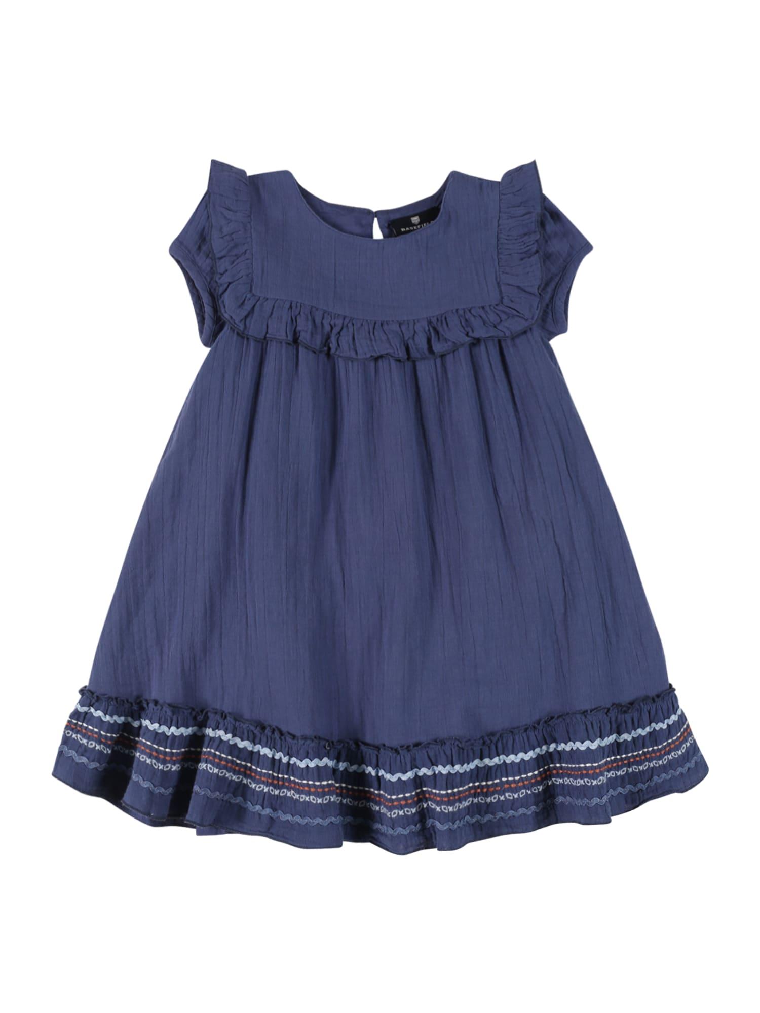 BASEFIELD Šaty  kouřově modrá / bílá / oranžová