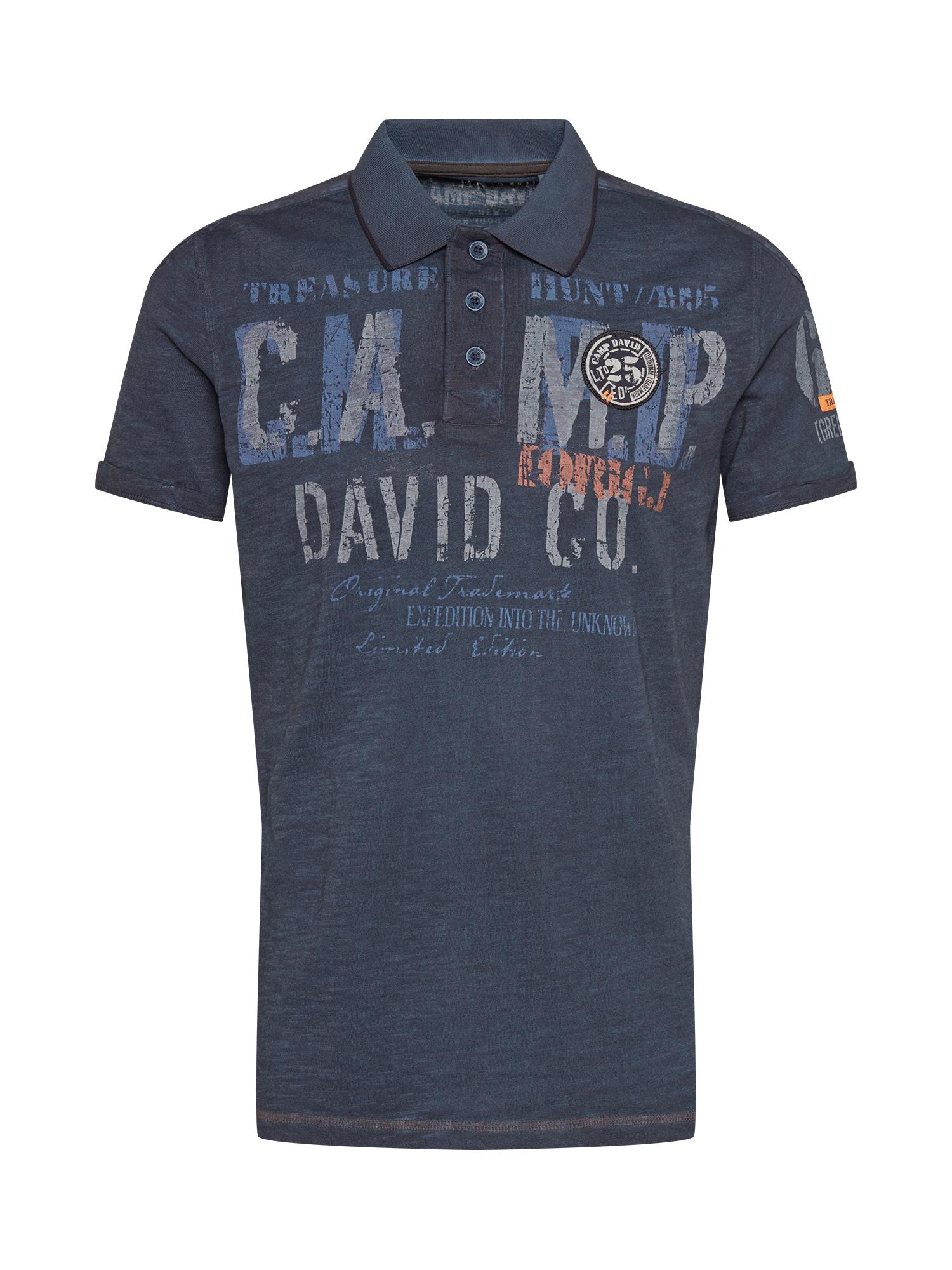 CAMP DAVID Marškinėliai melsvai pilka / pilka / koralų splava / gencijono spalva